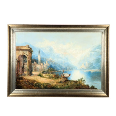 "19th Century Landscape Oil Painting ""On the Lago di Garda"""