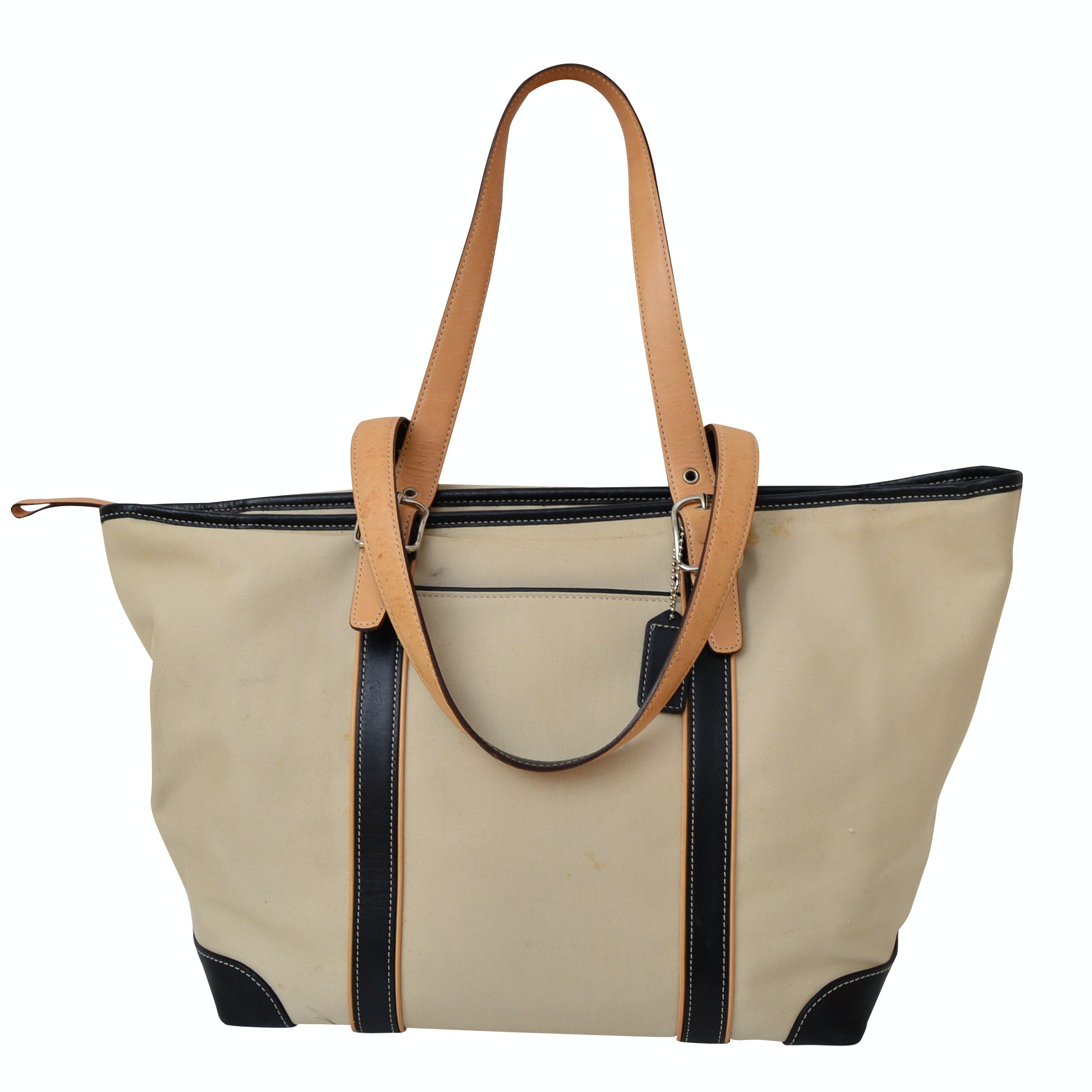Coach Leather-Trimmed Canvas Tote
