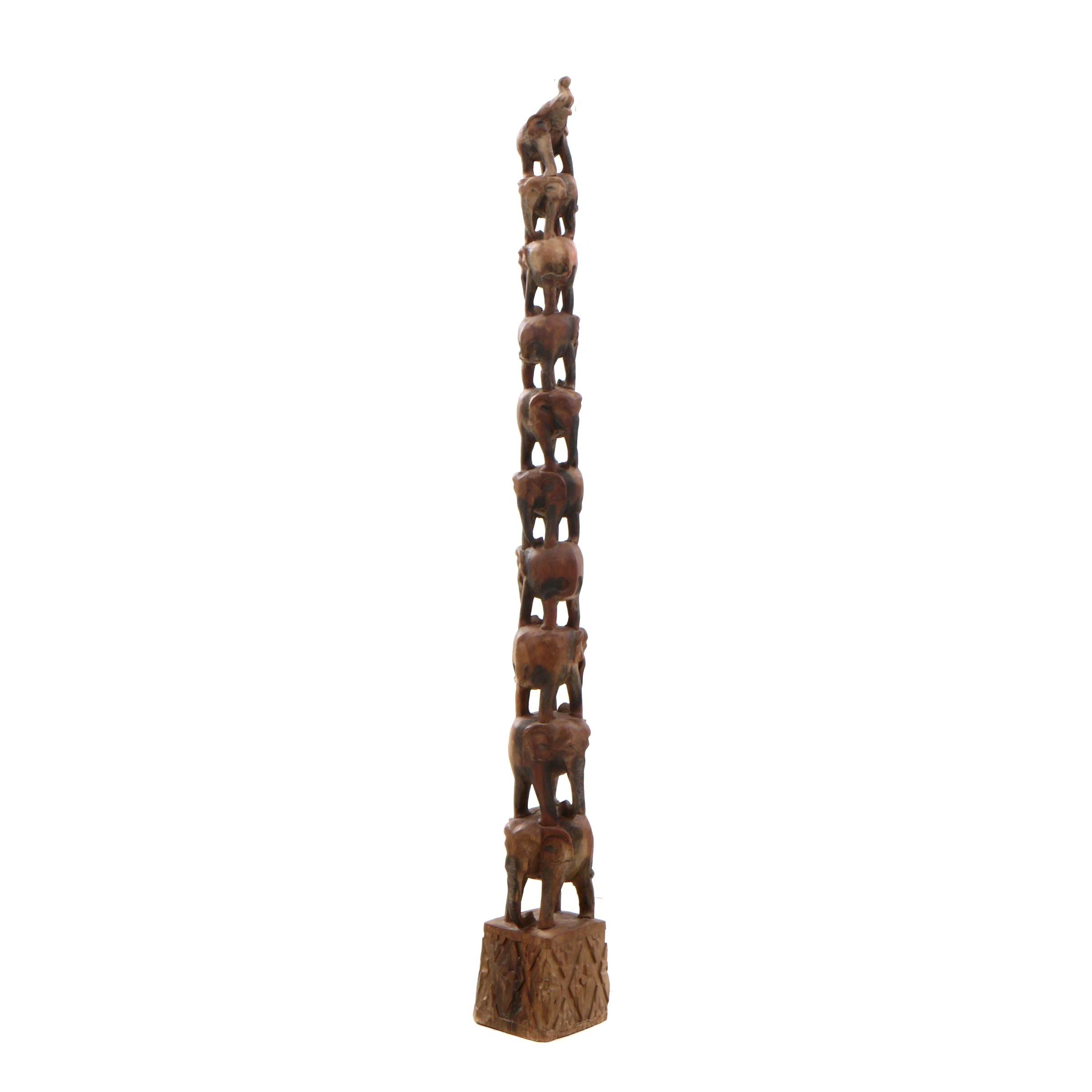 Carved Exotic Hardwood Figural Elephant Tower