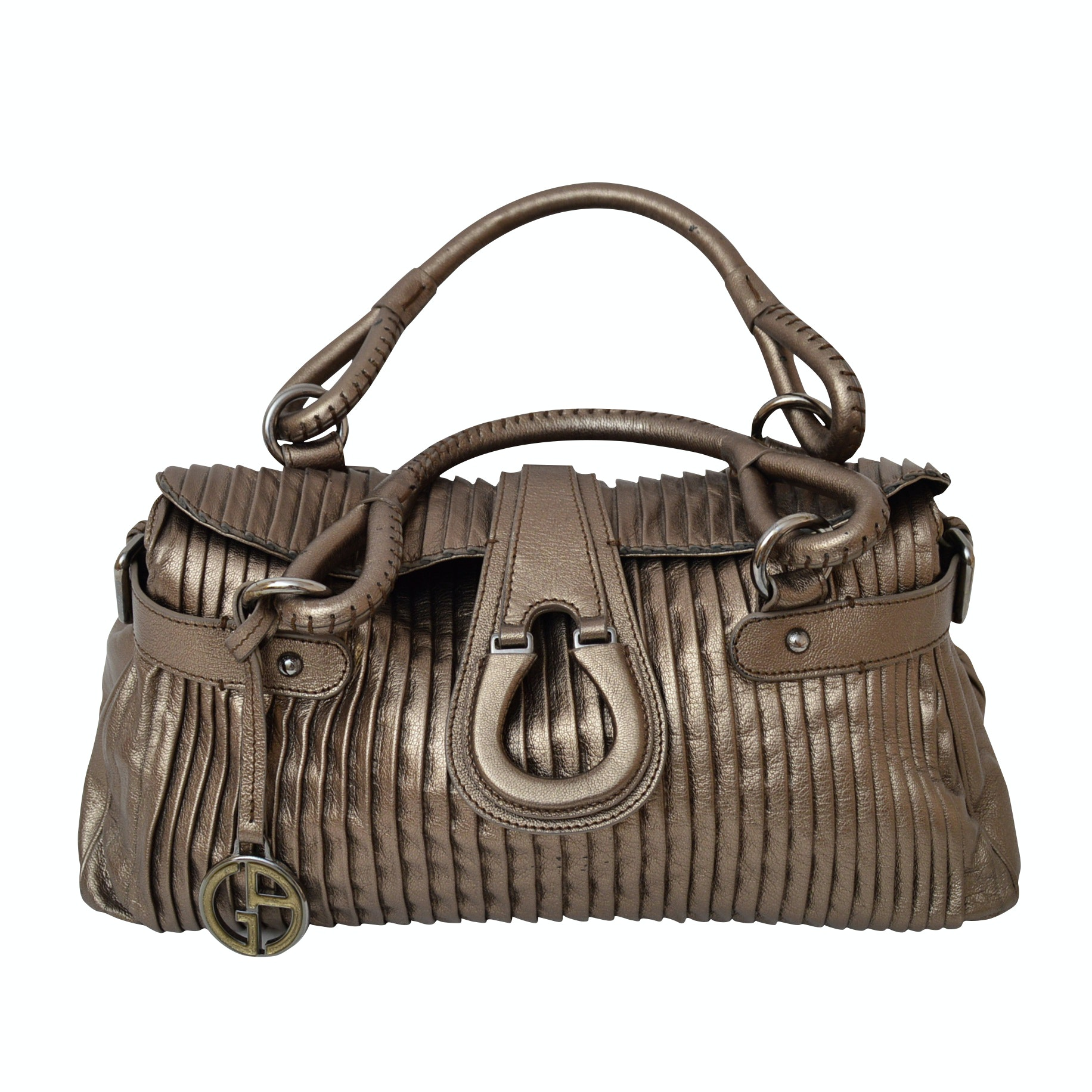 Giorgio Armani Bronze Metallic Leather Handbag