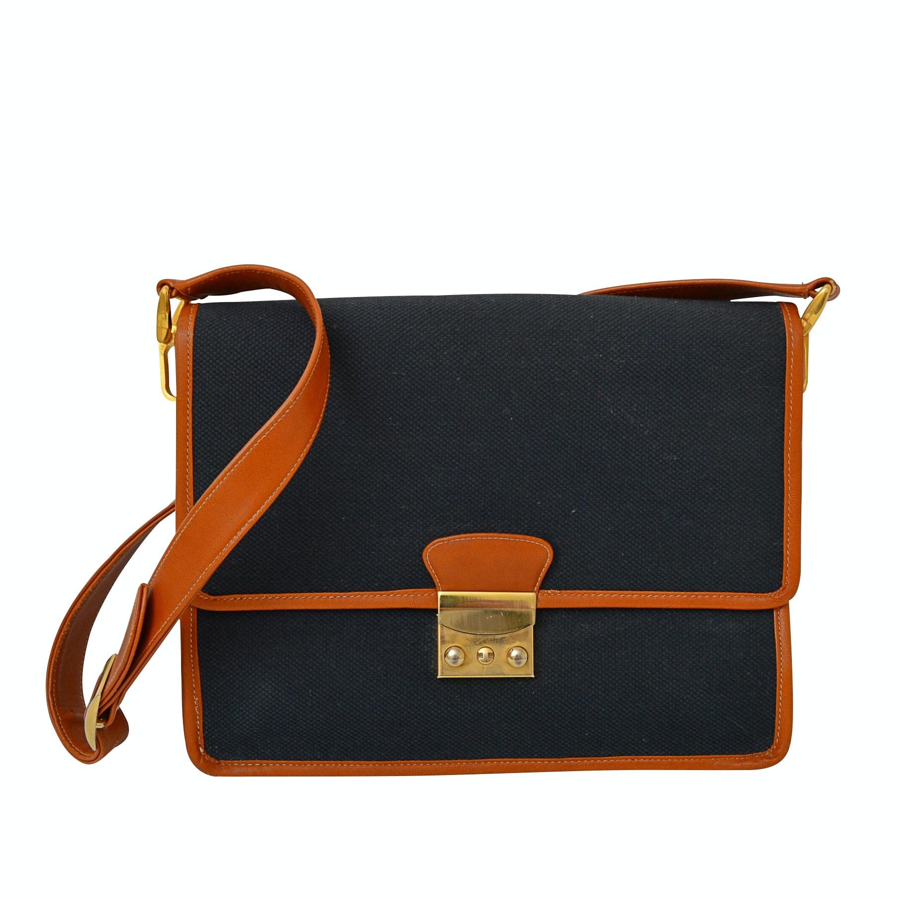 Morris Moskowitz Leather-Trimed Canvas Shoulder Bag