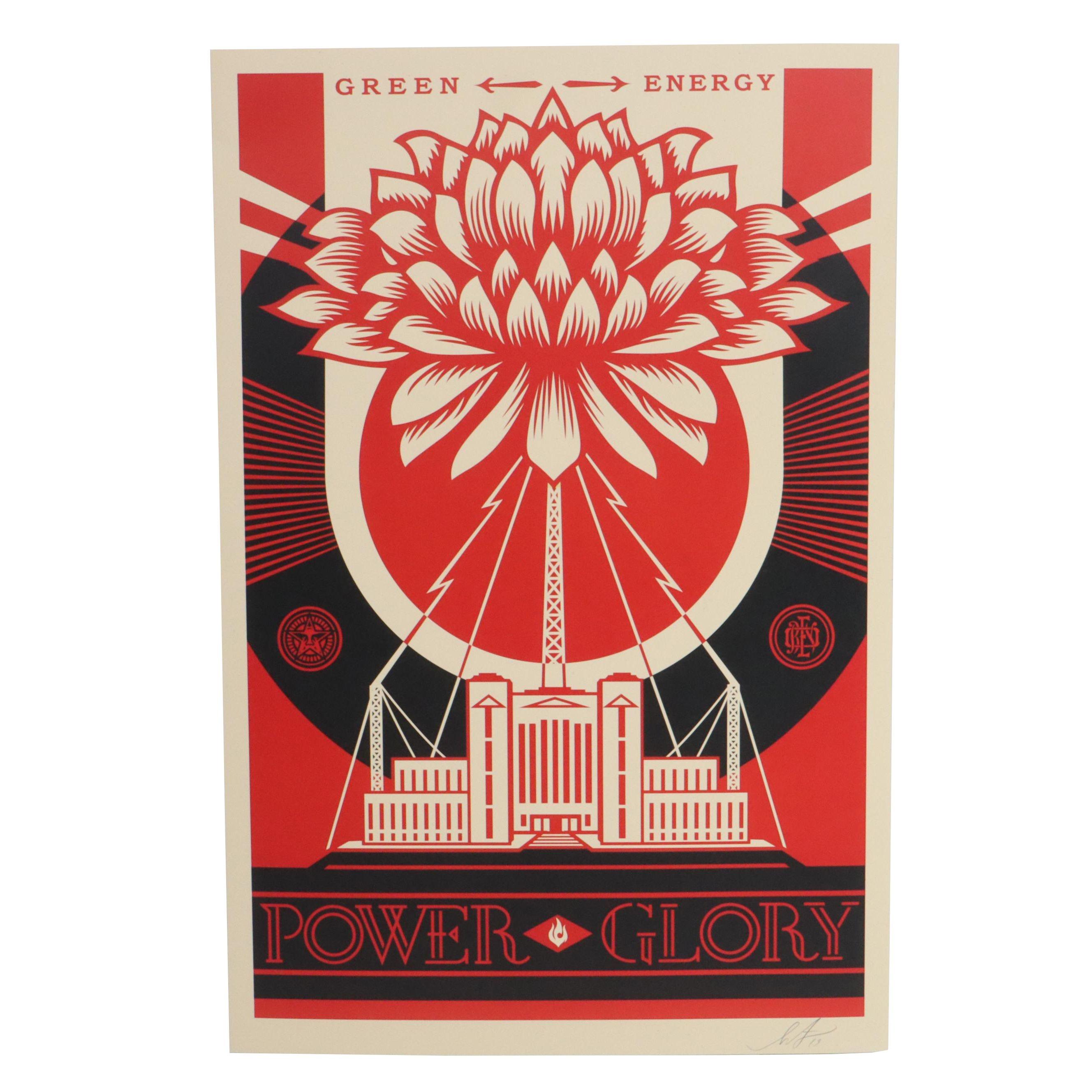 "Shepard Fairey Offset Print ""Green Energy - Power-Glory"""