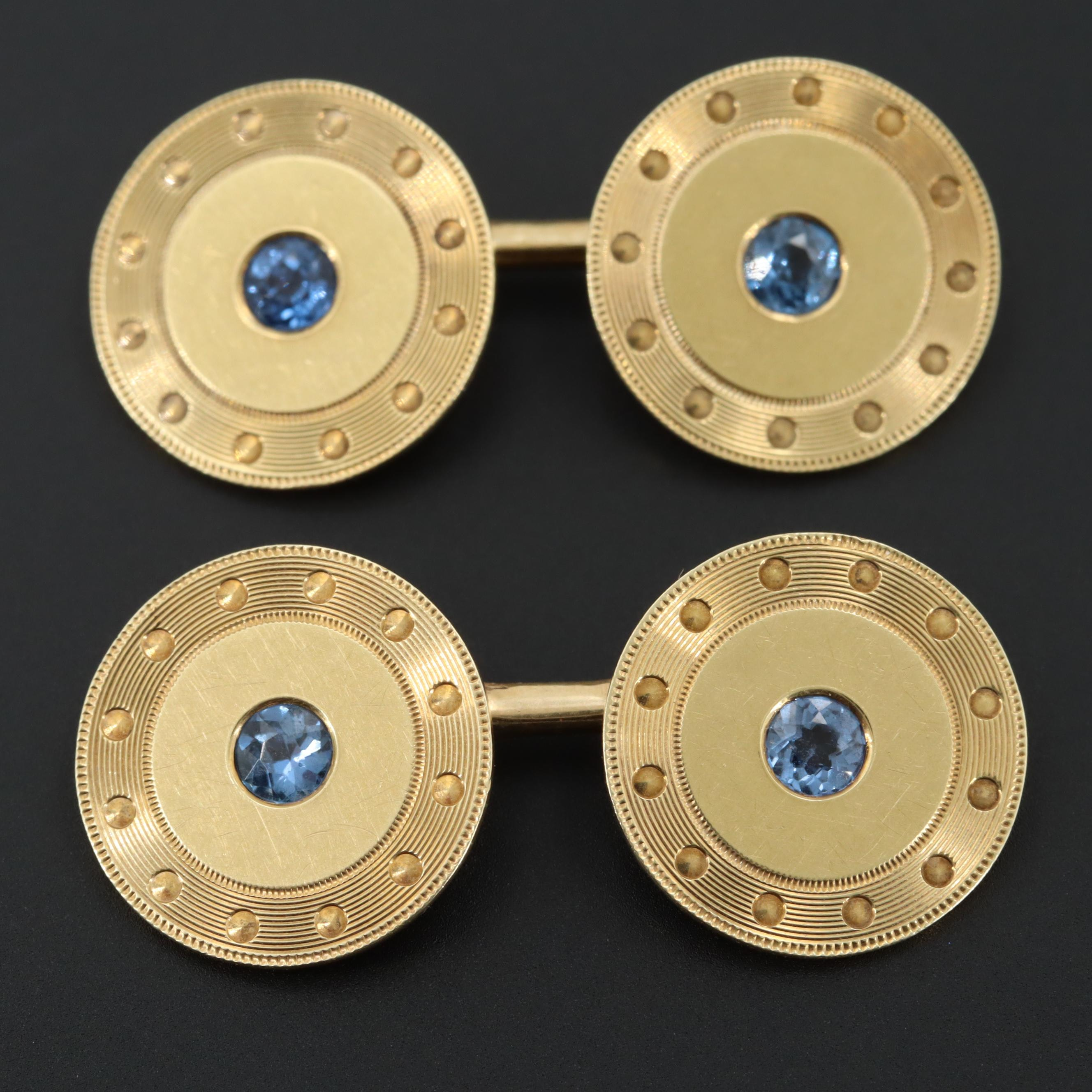 Art Deco 14K Yellow Gold Sapphire Cufflinks