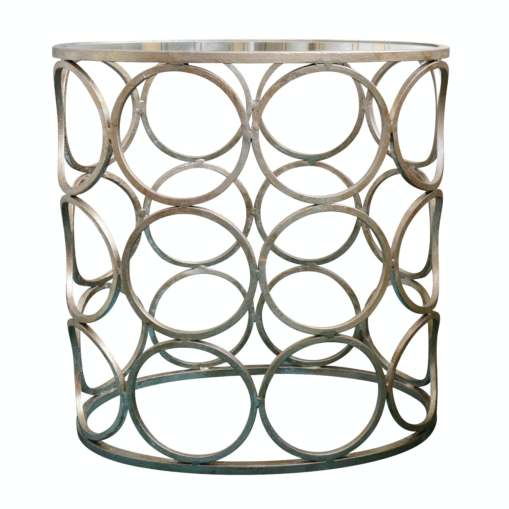 Contemporary Glass Top, Metal Base Side Table