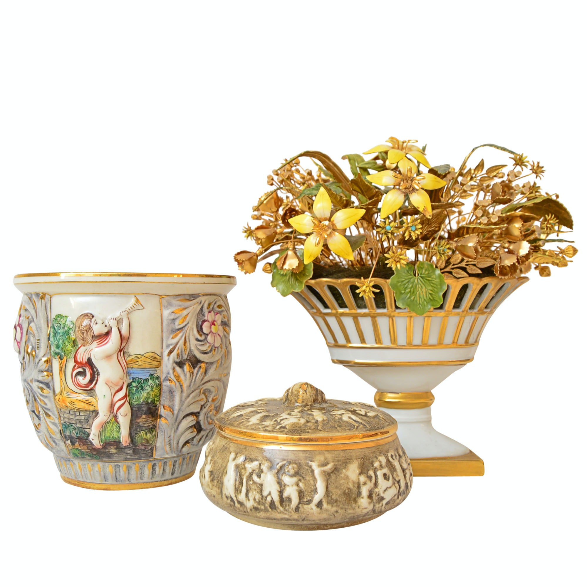 Capodimonte Trinket Box and Planter, Gorham Porcelain and Metal Flower Basket