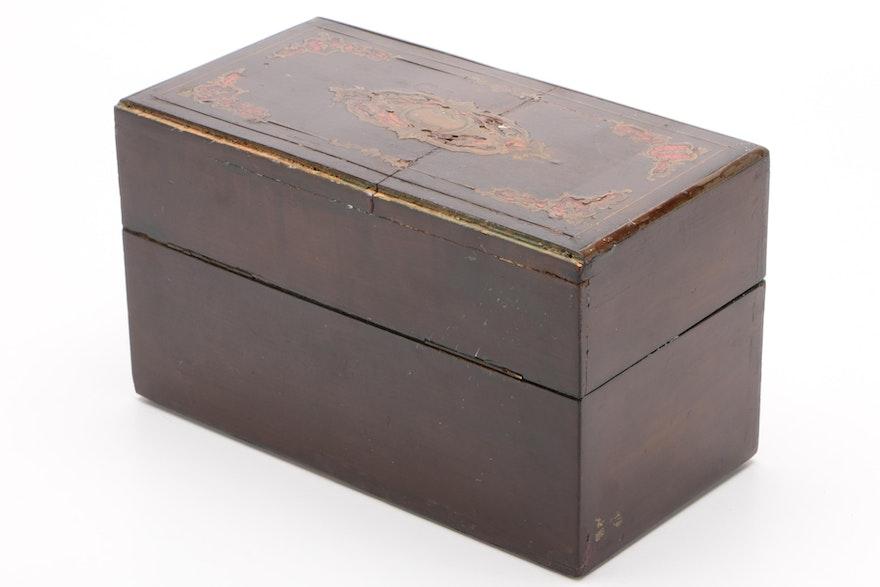 Brass And Tortoiseshell Inlaid Table Box, Second Half 19th