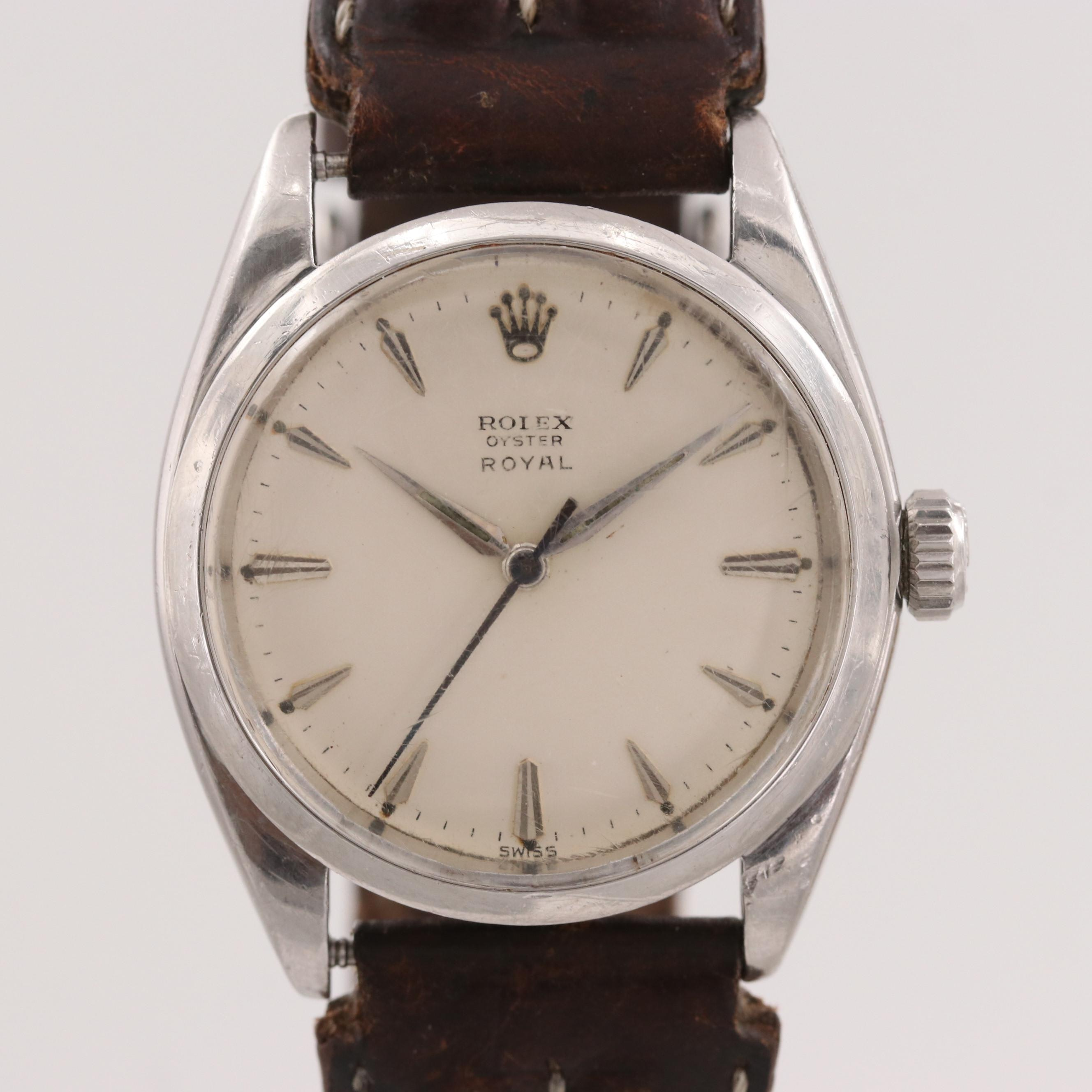 Vintage Rolex Oyster Royal Stainless Steel Stem Wind Wristwatch, 1961