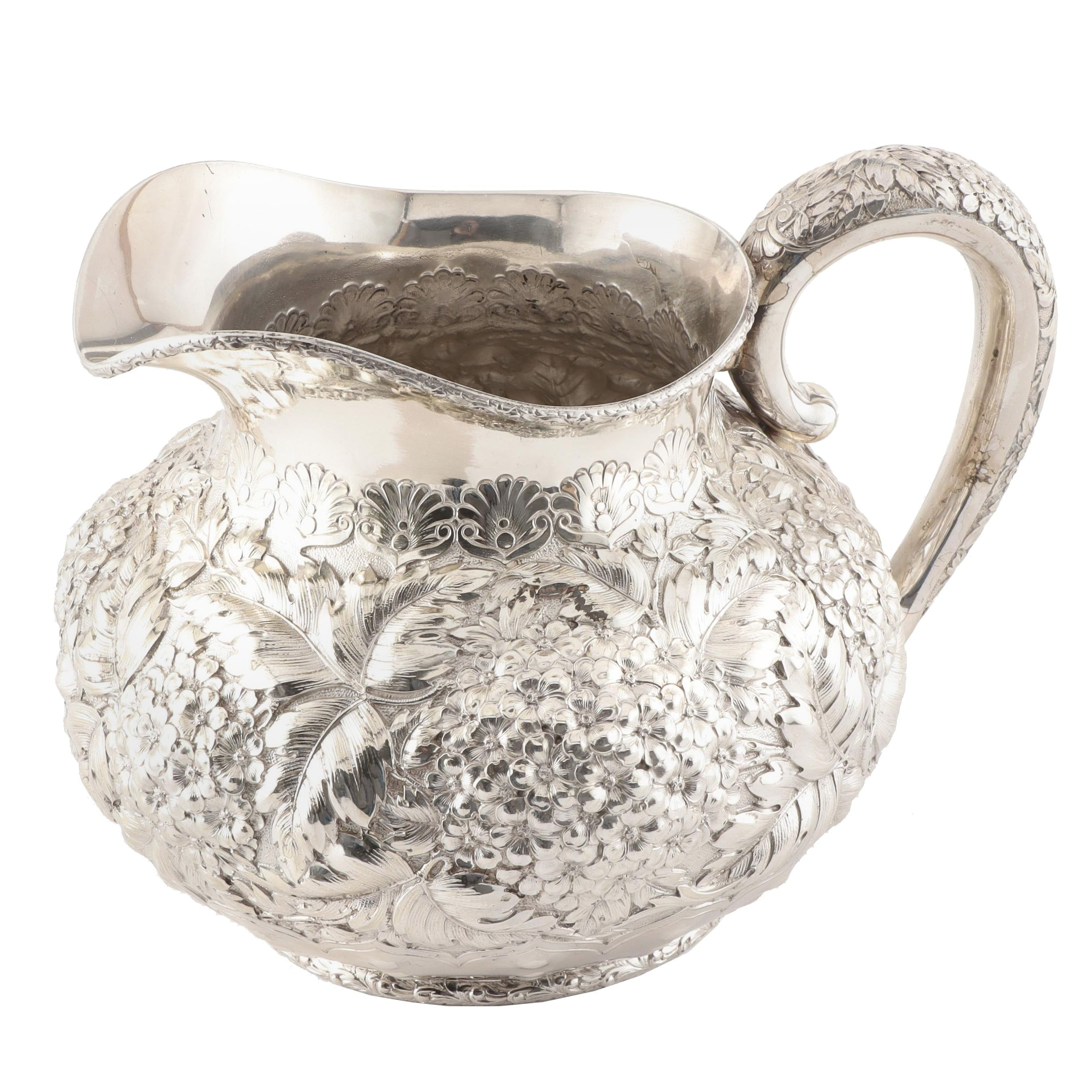 Dominick and Haff Sterling Silver Repoussé Water Pitcher, circa 1900