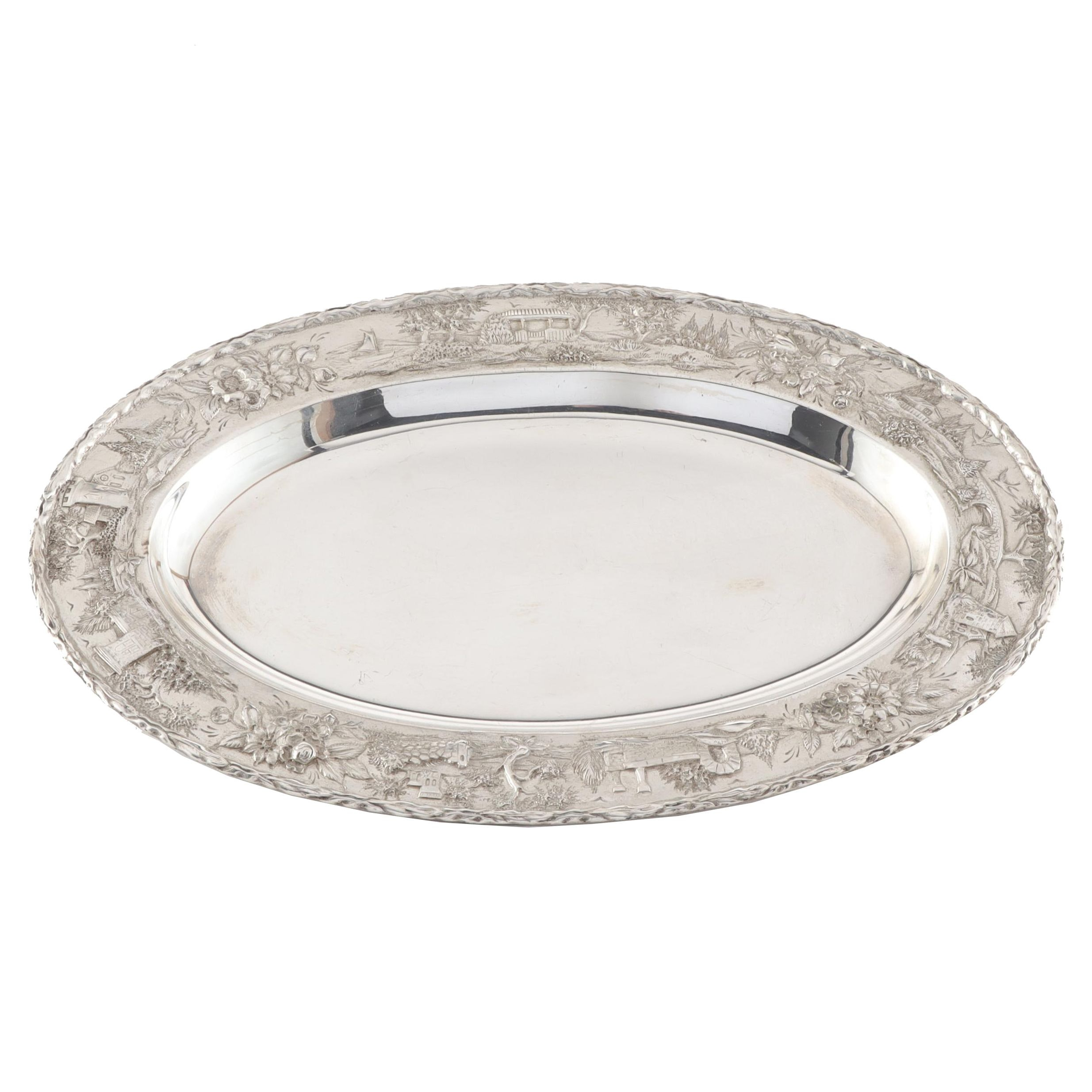 """S. Kirk & Son Sterling Silver """"Castle"""" Repoussé Oval Tray"""