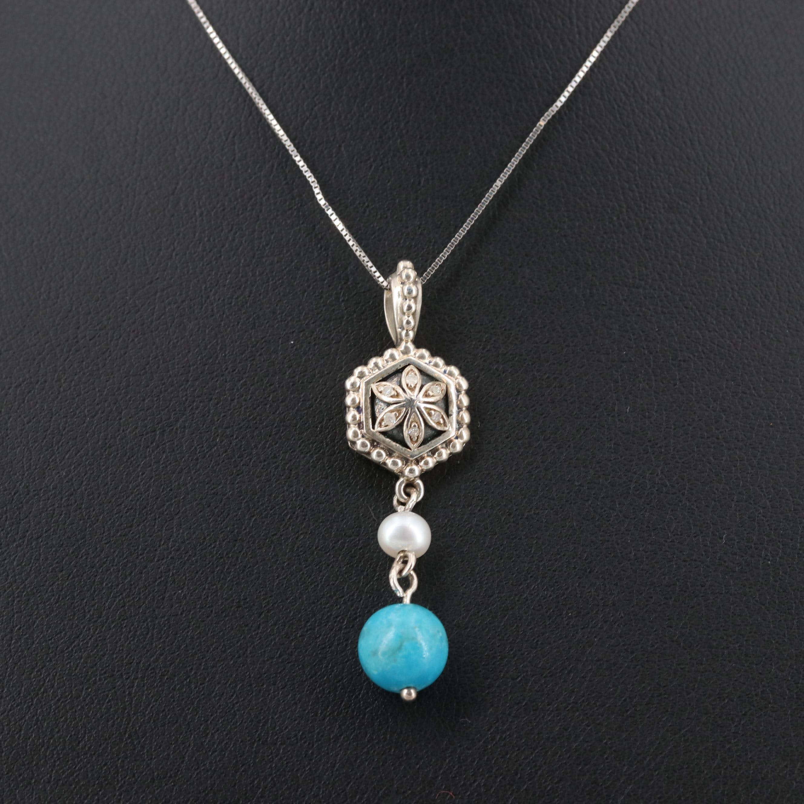 Sterling Silver Turquoise, Cultured Pearl, and Diamond Pendant Necklace