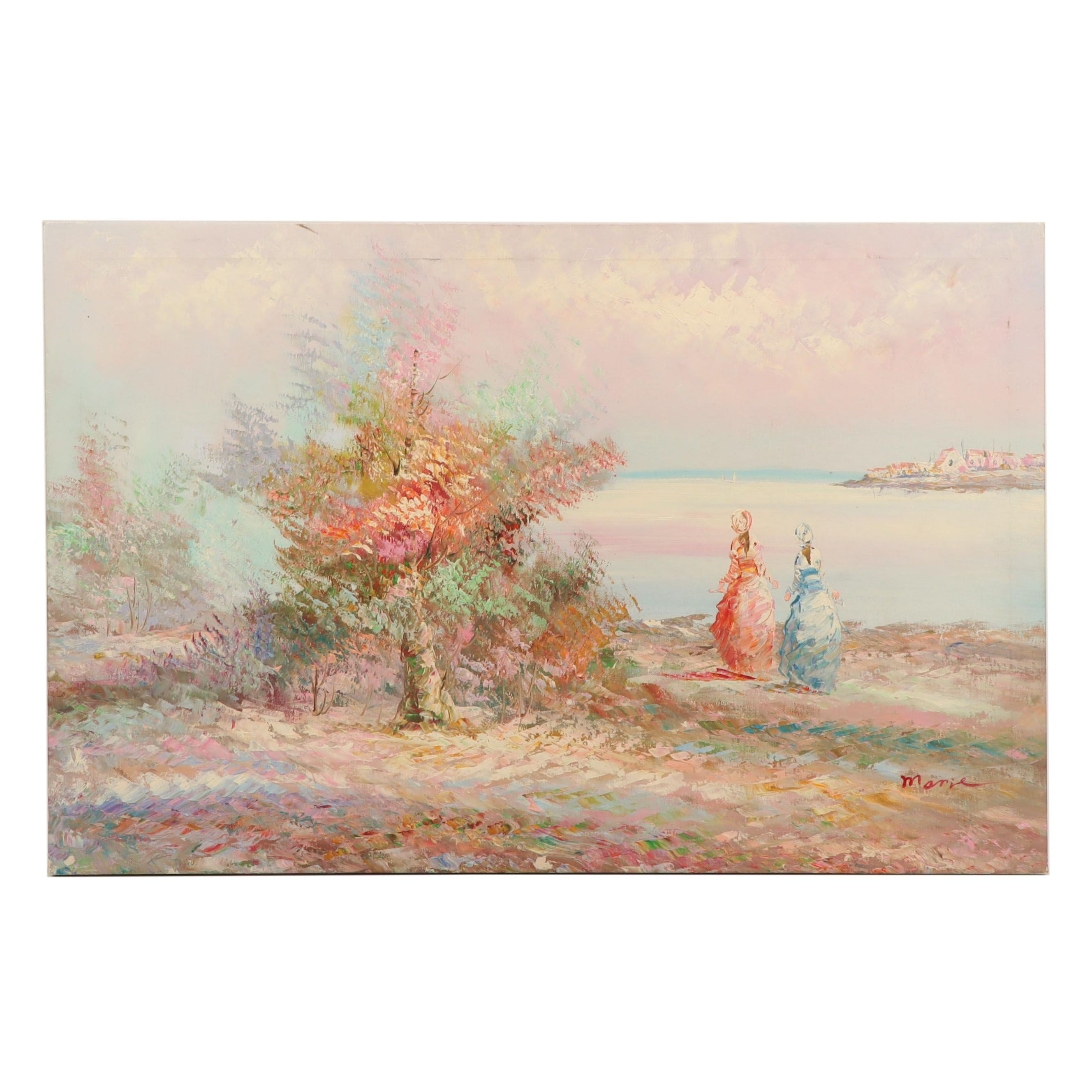 Impressionist Style Oil Painting of Women at Shore