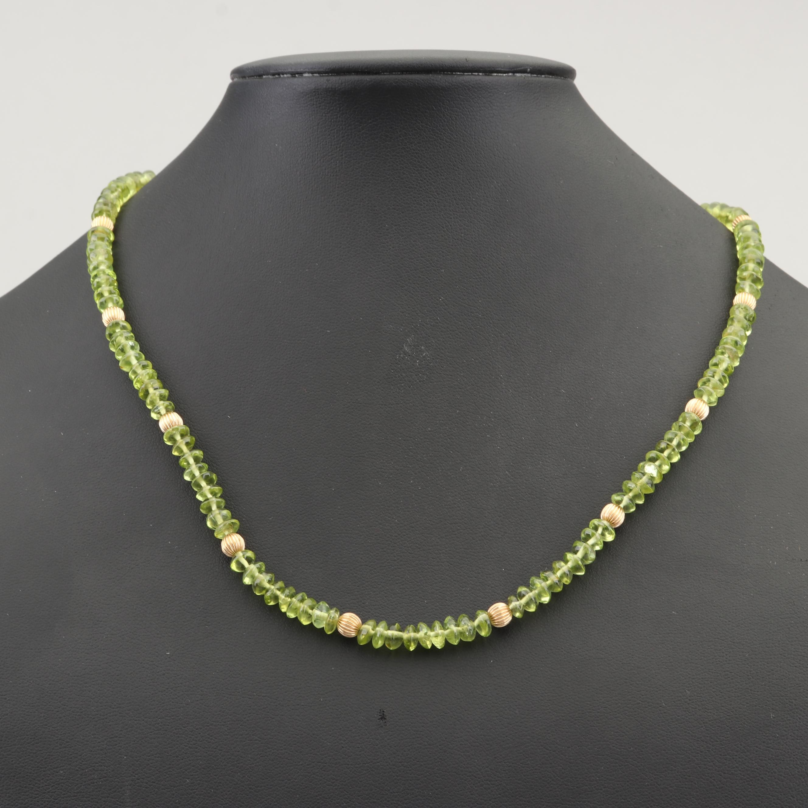 10K Yellow Gold Fluted Bead and Peridot Bead Necklace with 14K Gold Clasp