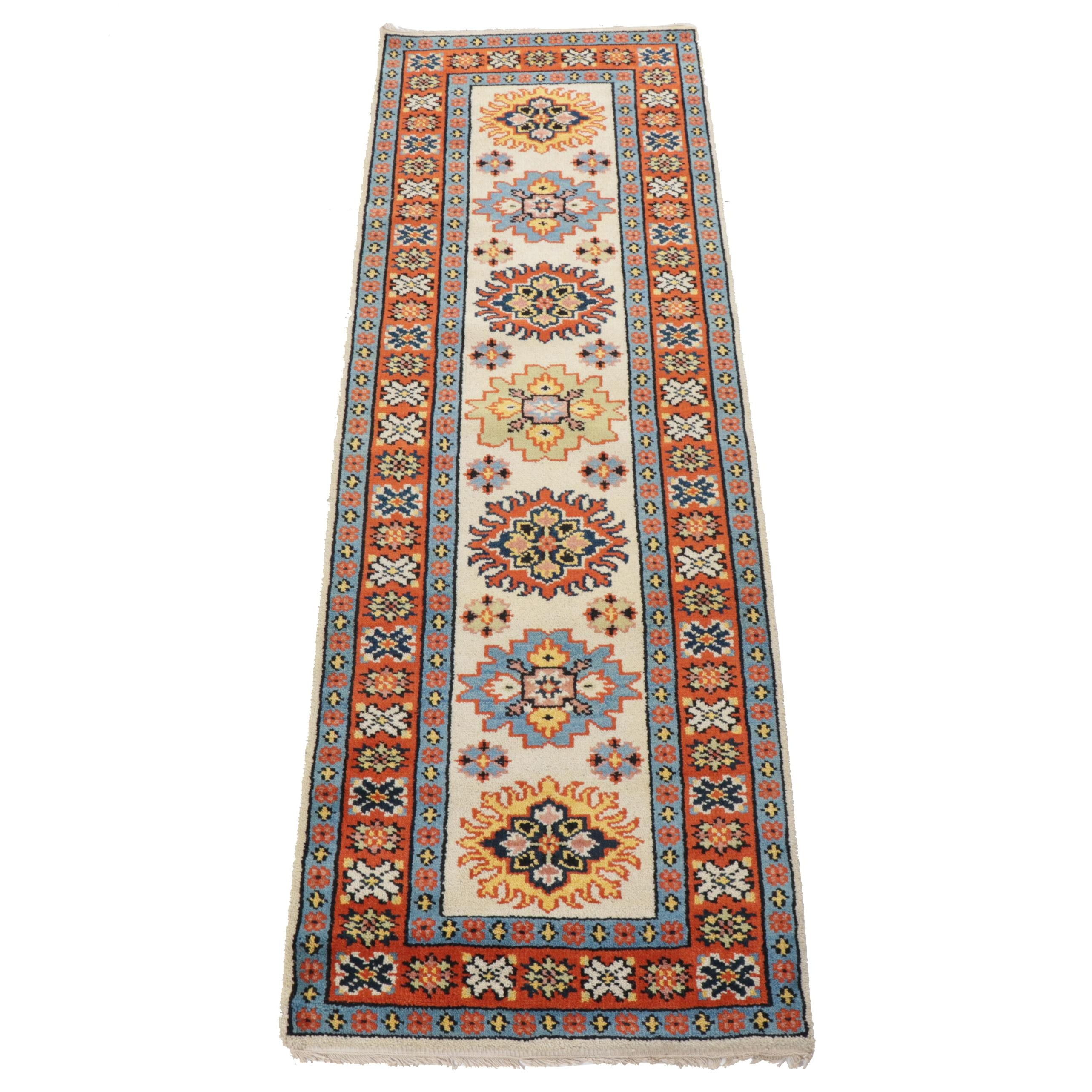 Hand-Knotted Indo-Persian Heriz Carpet Runner