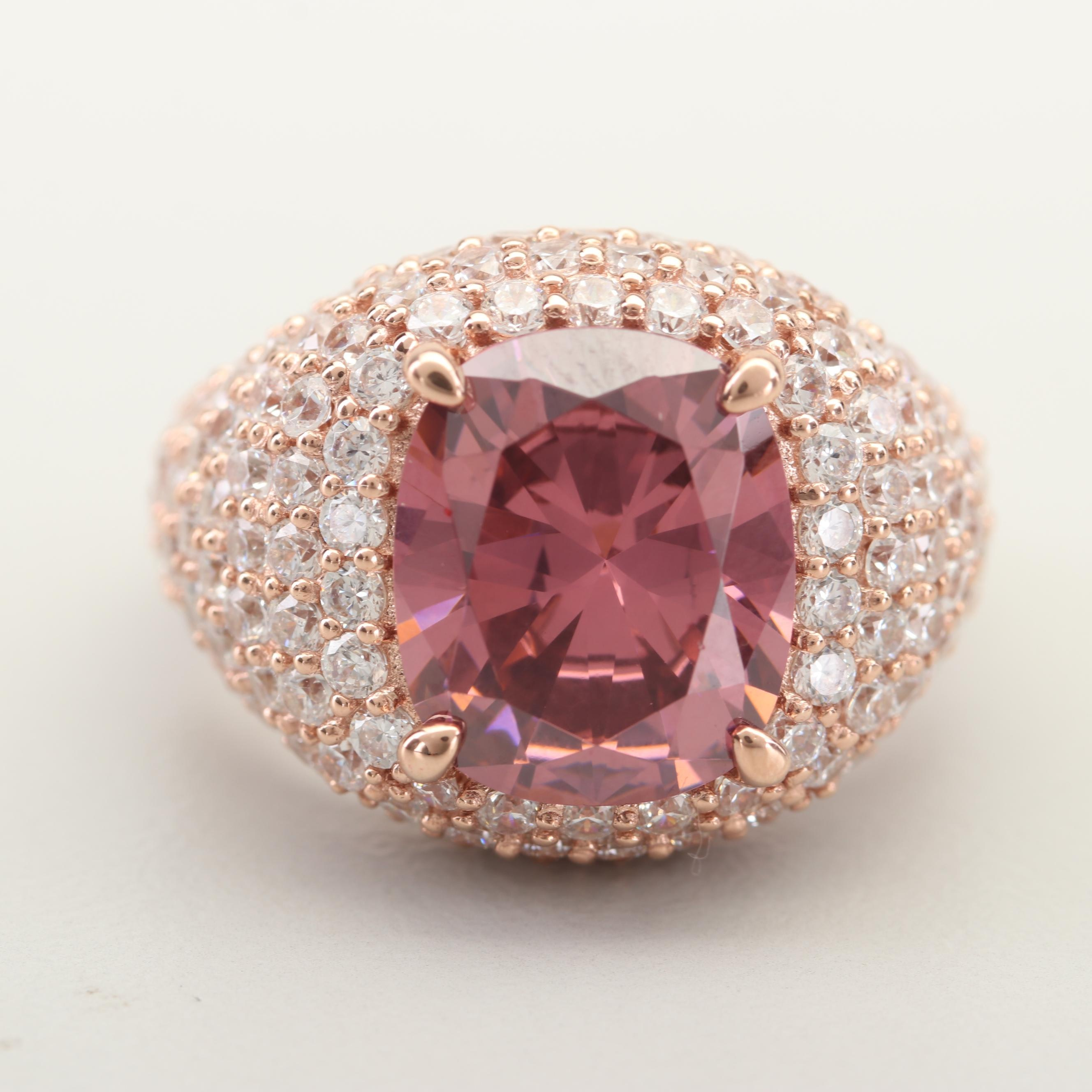 Rose Gold Wash on Sterling Silver Cubic Zirconia Ring