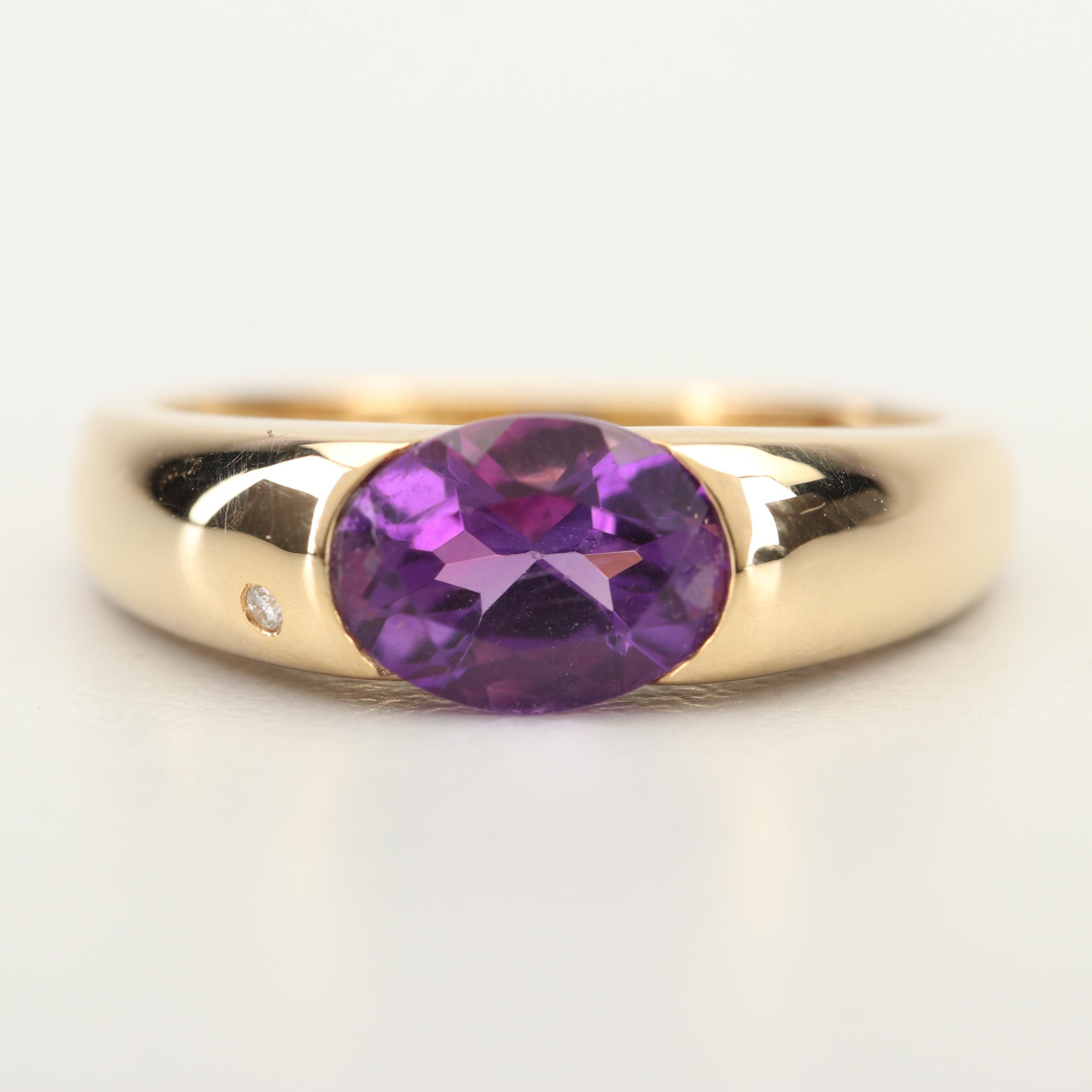 18K Yellow Gold 1.25 CT Amethyst and Diamond Ring