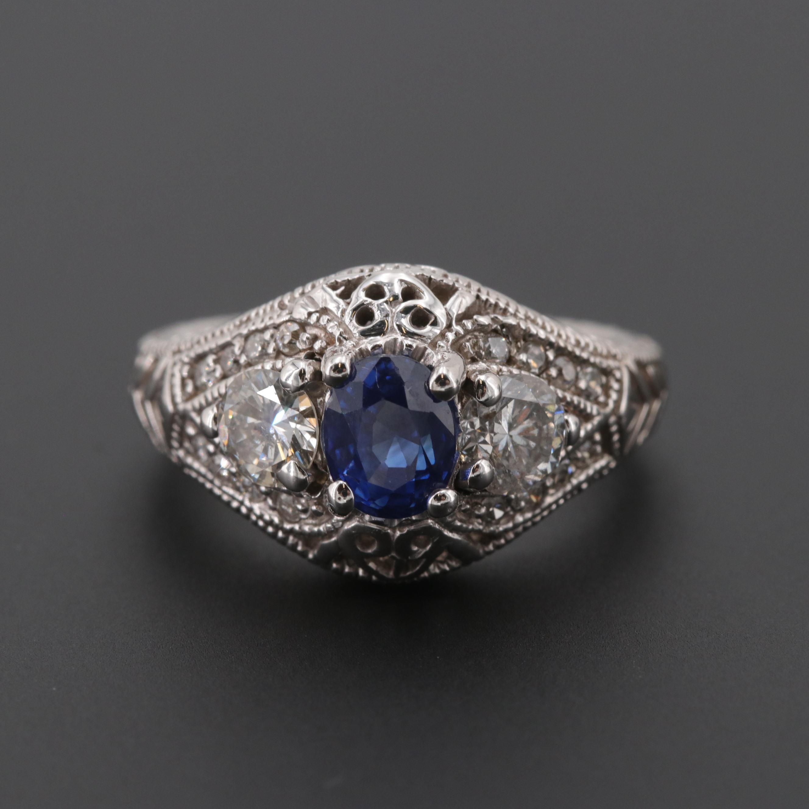 14K White Gold 1.01 CT Sapphire and Diamond Ring with GIA Report
