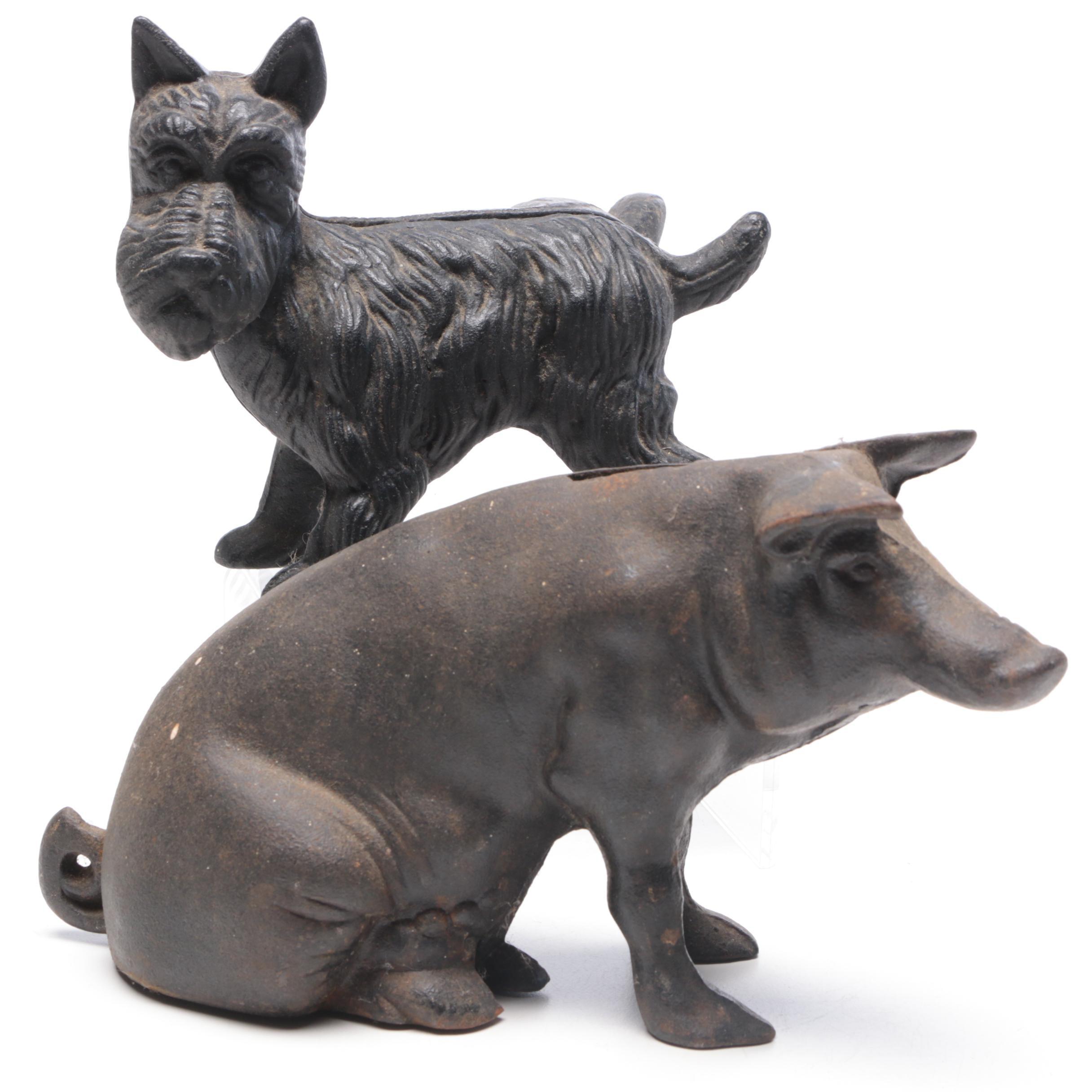 Cast Iron Piggy Bank and Scottie Dog Door Stopper