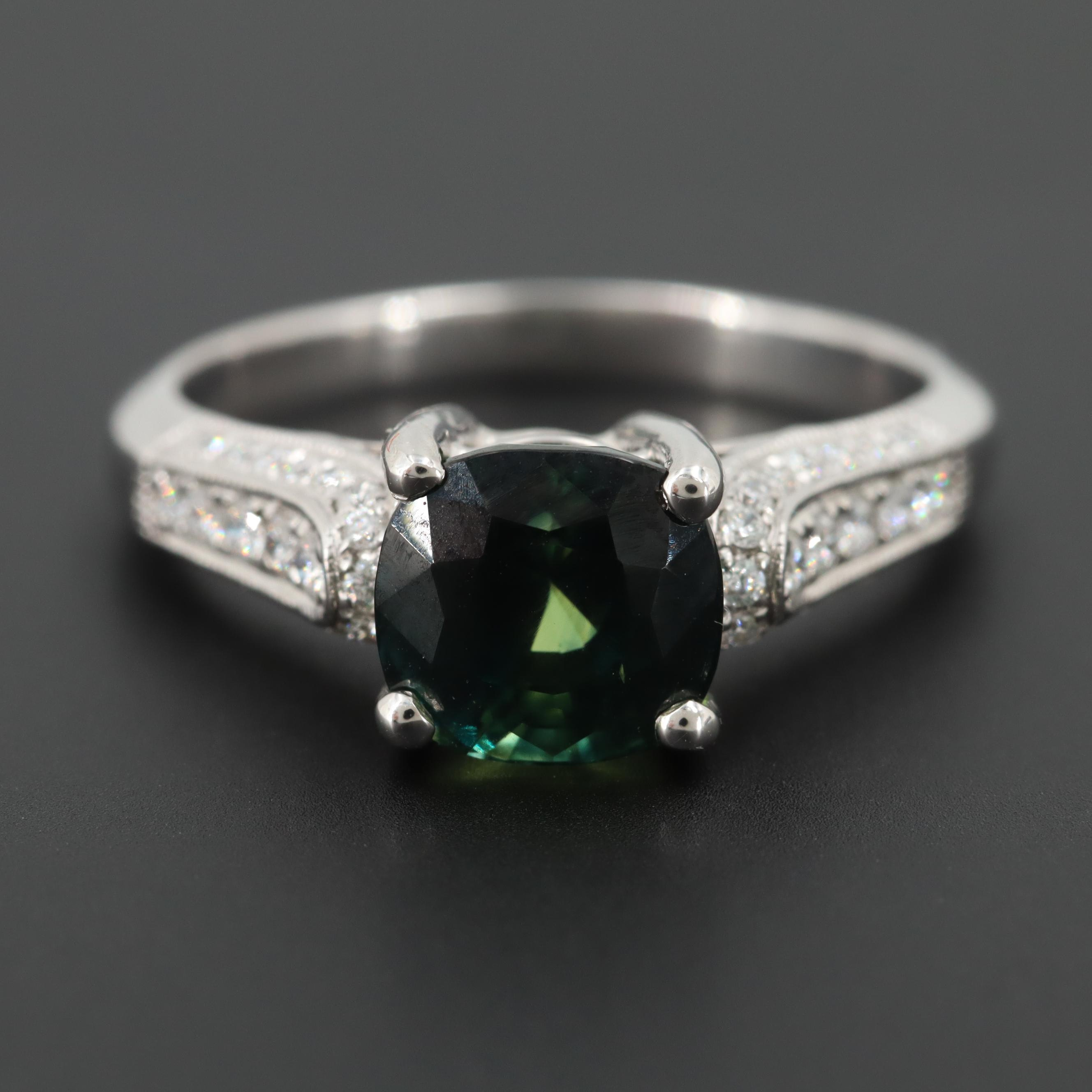 18K White Gold 2.80 CT Blue-Green Sapphire and Diamond Ring with GIA Report