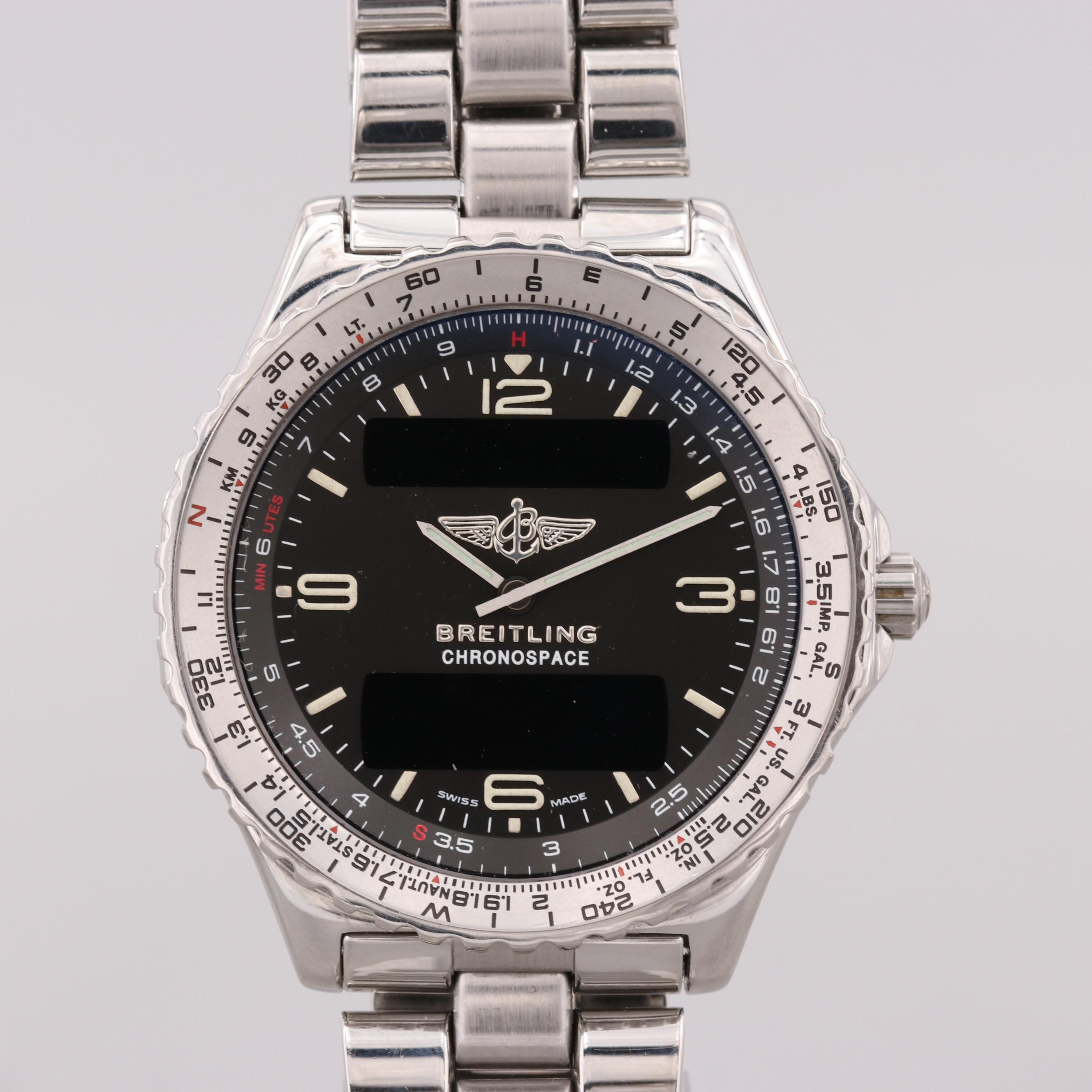 Breitling Chronospace Stainless Steel Analog/Digital Quartz Wristwatch