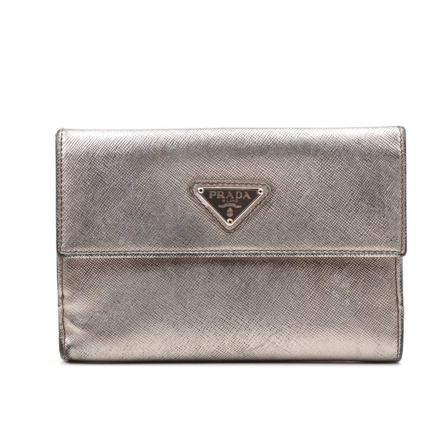 15abda3ae888ab Prada Metallic Saffiano Leather Flap Wallet | EBTH