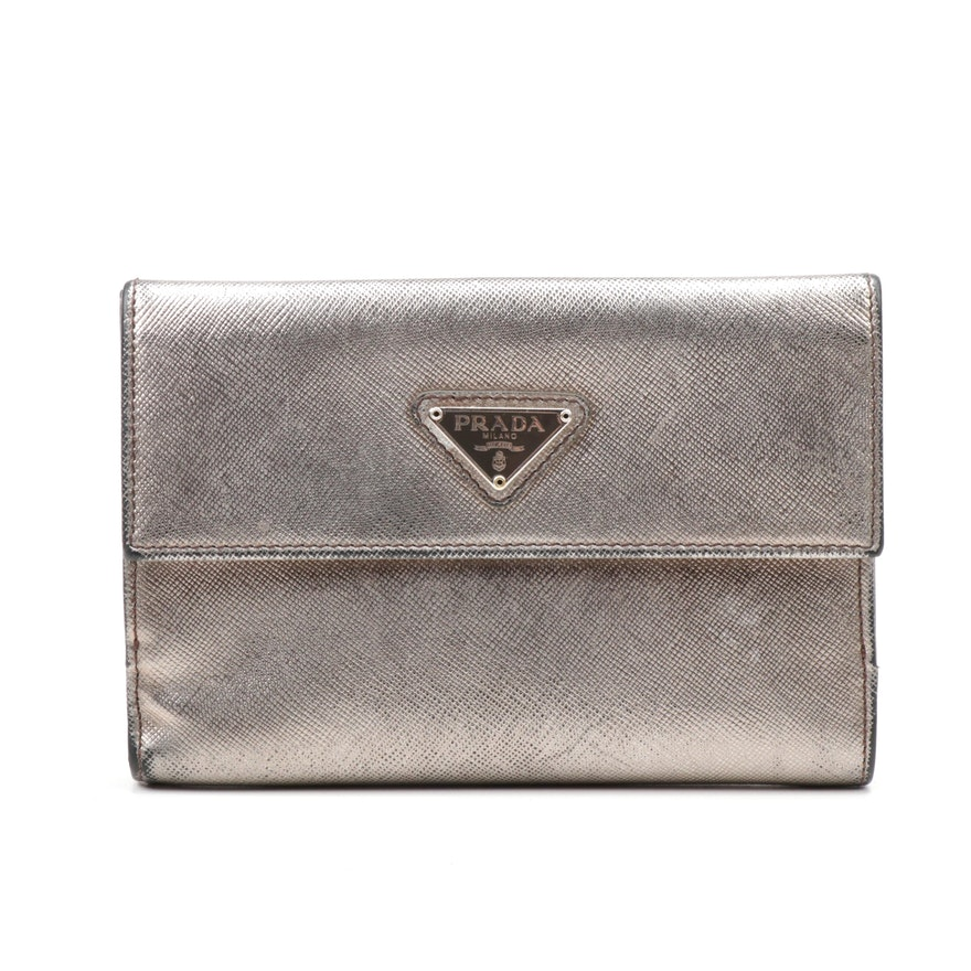 Prada Metallic Saffiano Leather Flap Wallet