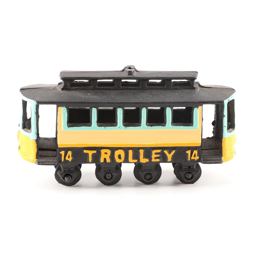 Hand-painted Cast Iron Trolley, Mid-Century