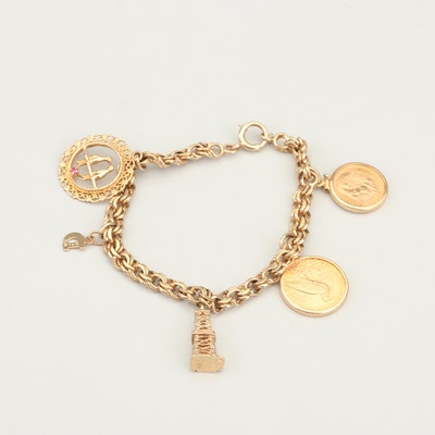 14K Gold Charm Bracelet with Indian Head $2.5 and Mexico 2.5 Pesos Gold Coins