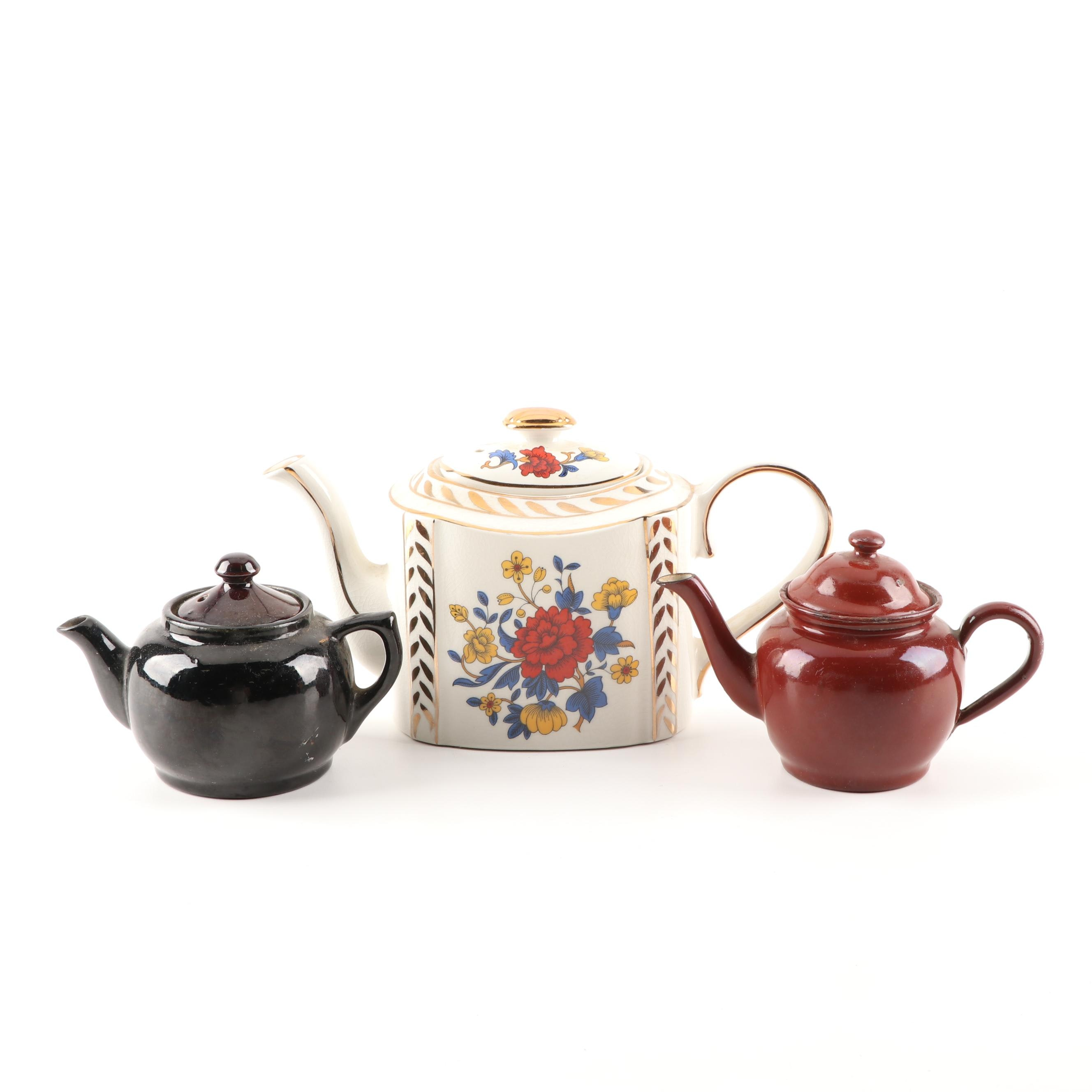 Grouping of Ceramic Tea Pots Featuring Royal Arthur Wood, Mid-Century