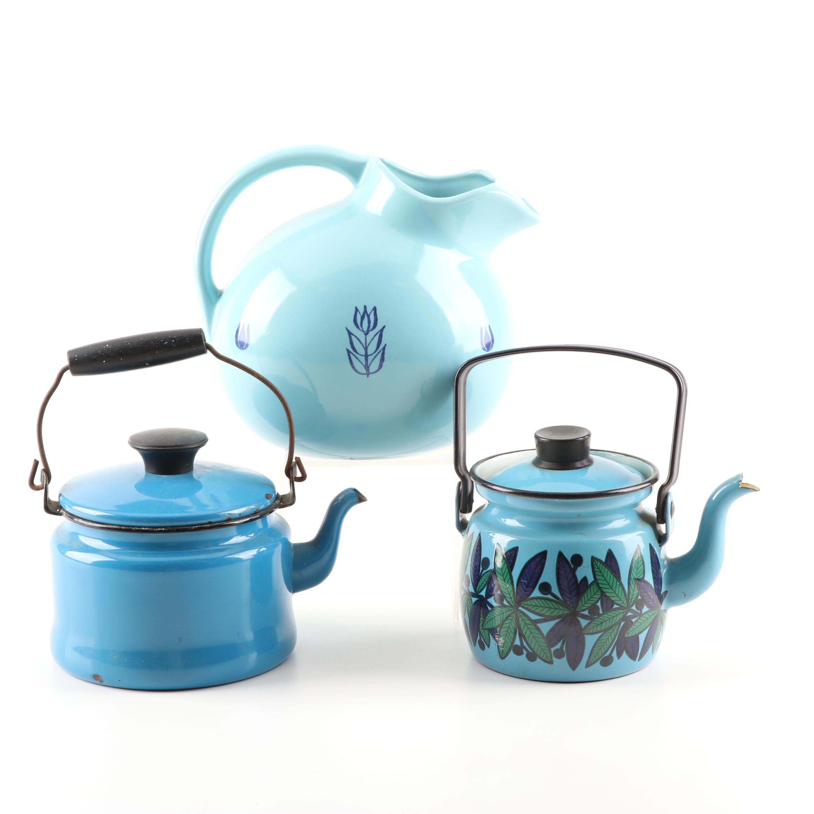 Vintage Ceramic and Metal Tea Pots Featuring Hull USA