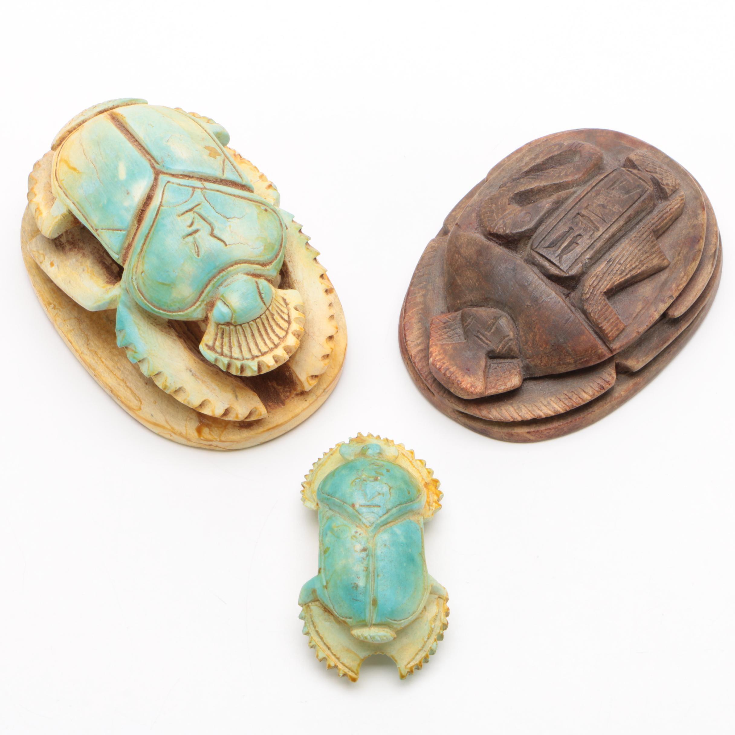 Egyptian Style Scarab Beetle Figurines