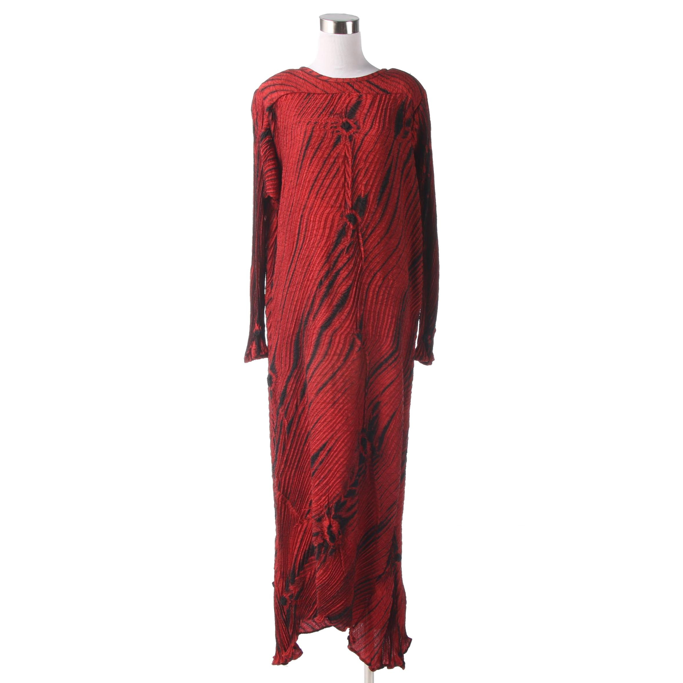 Joan McGee Shibori Dyed Red and Black Silk Evening Dress