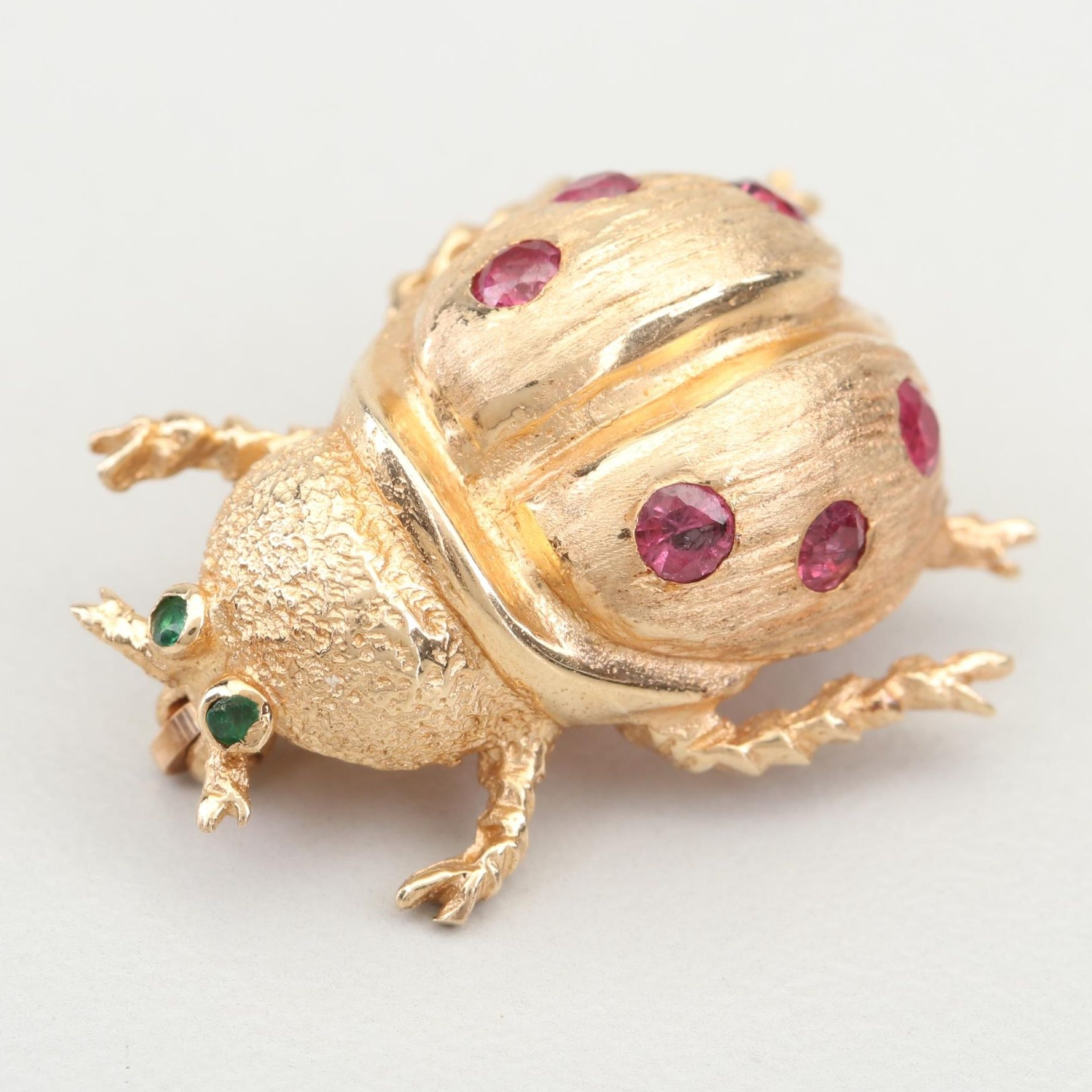 14K Yellow Gold Ruby and Emerald Ladybug Pin