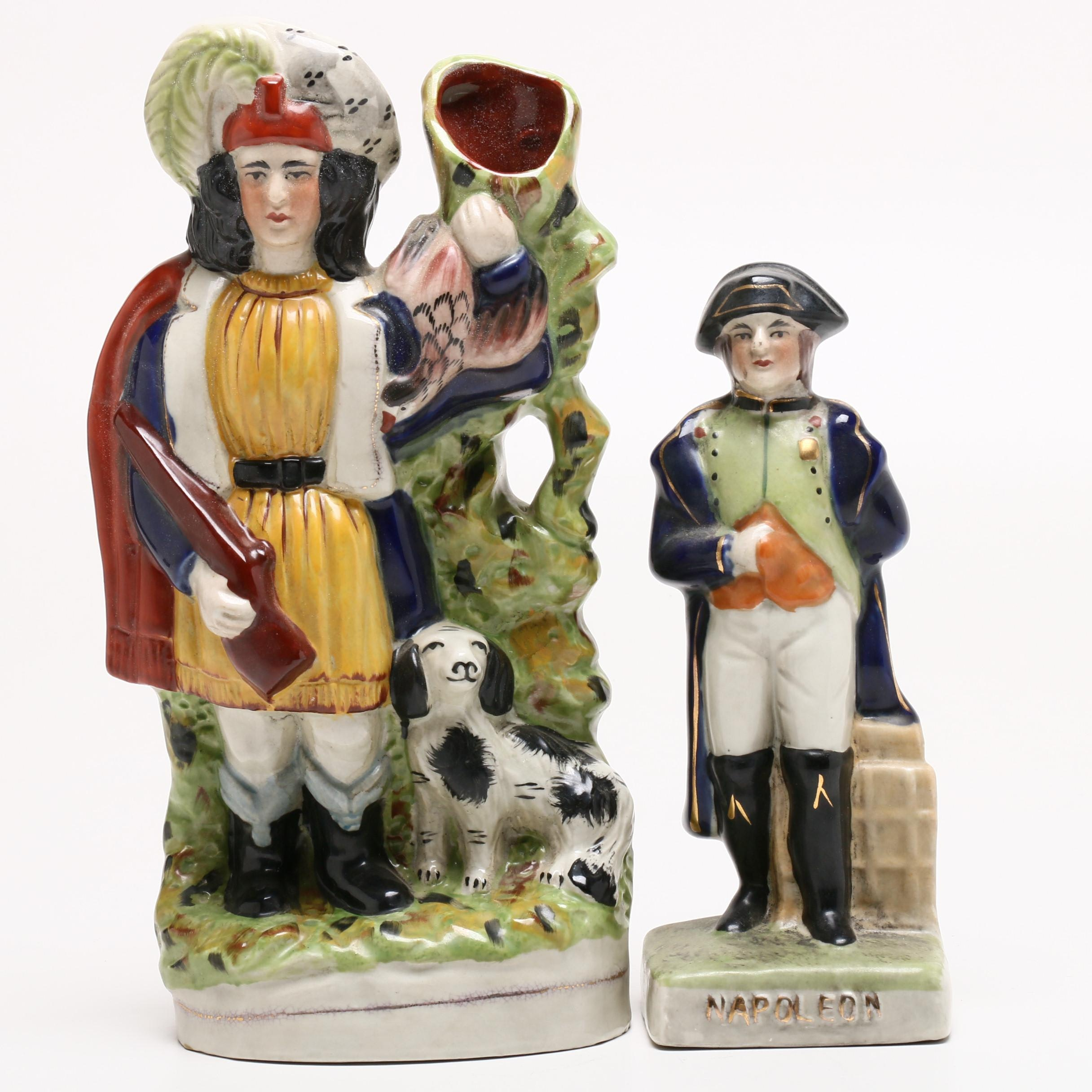 Staffordshire Style Figurine of Napoleon and Hunter with Dog Spill Vase