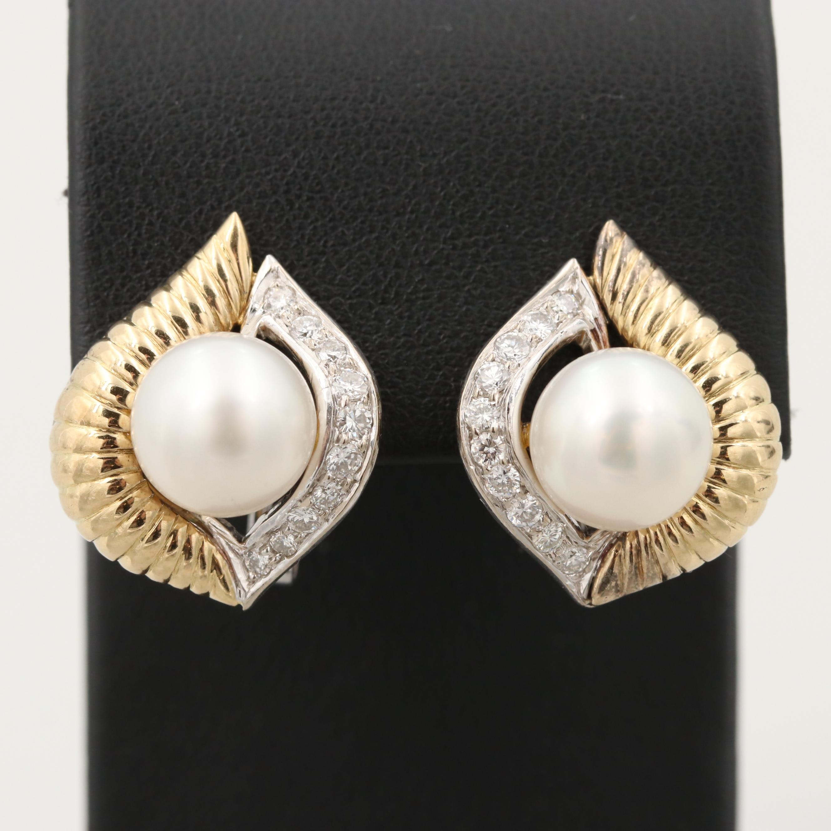18K Yellow and White Gold Cultured Pearl and Diamond Earrings