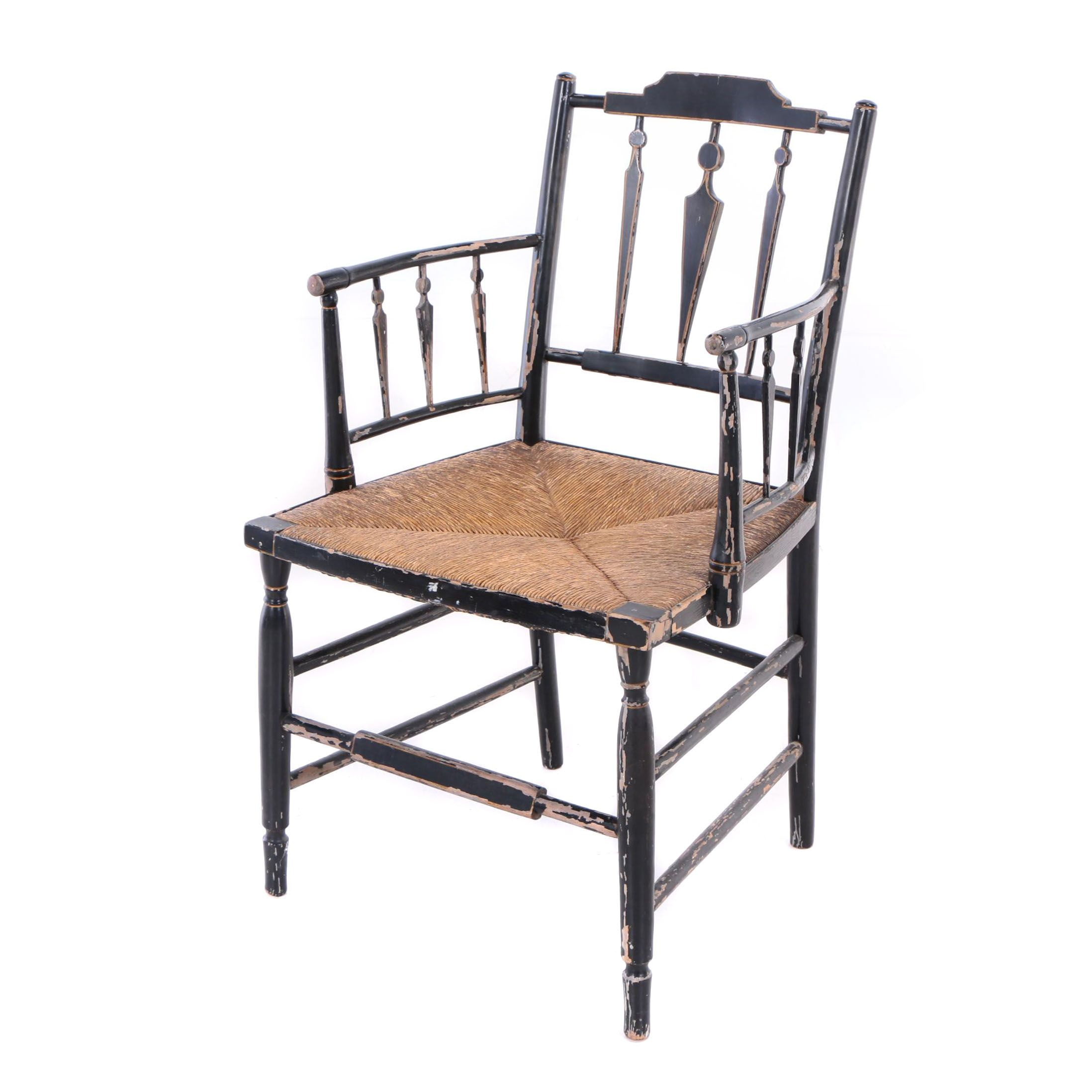 American Ebonized and Yellow-Pinstriped Fancy Armchair, Early 19th Century