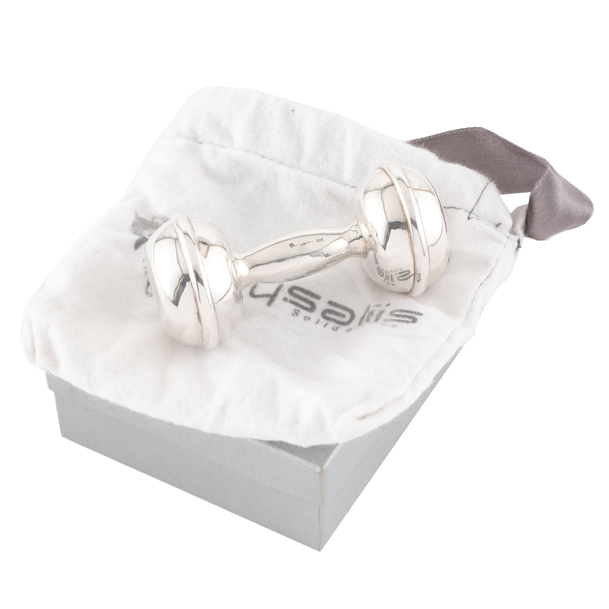 Sterling Silver Dumbbell Baby Rattle with Gift Box