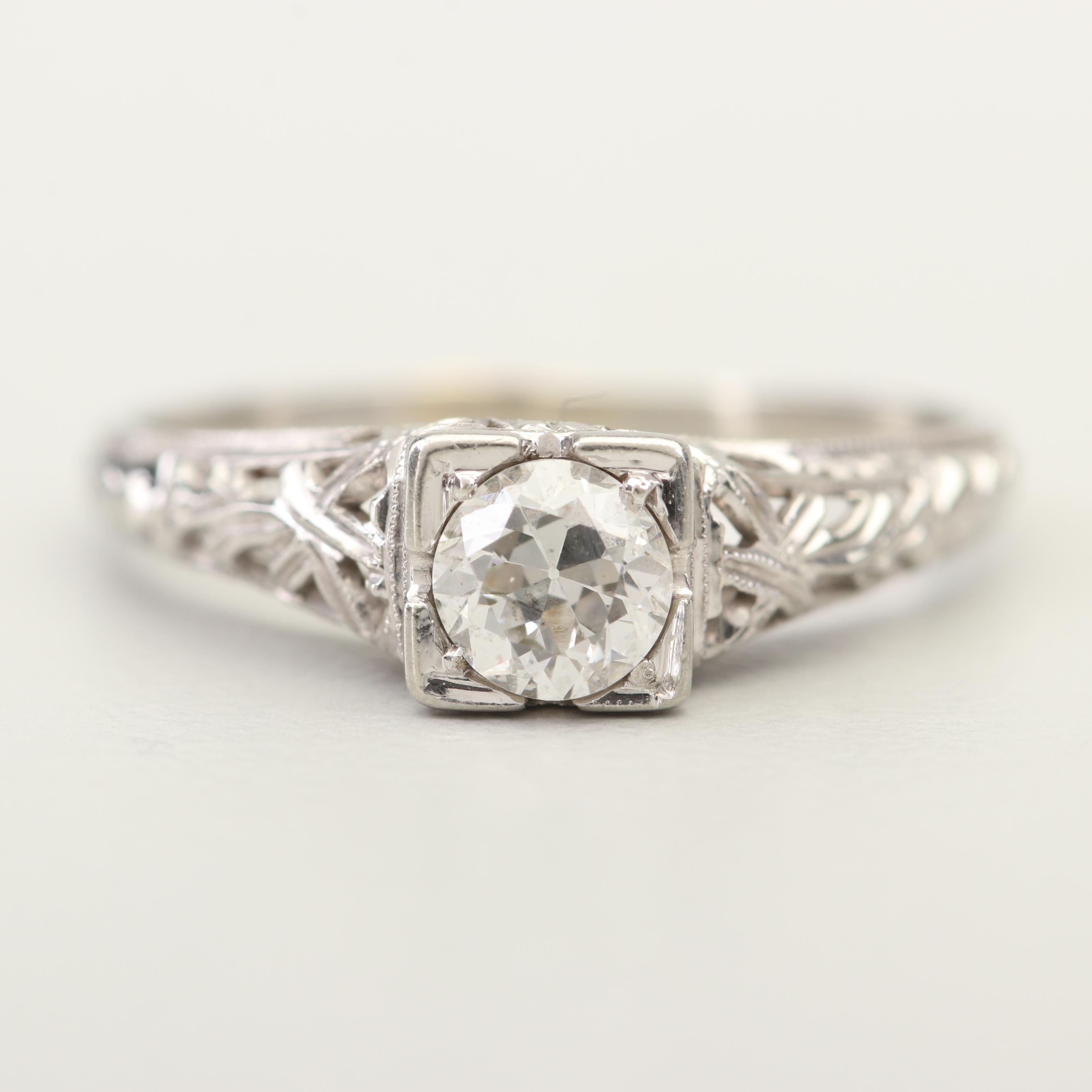 18K White Gold Filigree and Old European Cut Diamond Ring