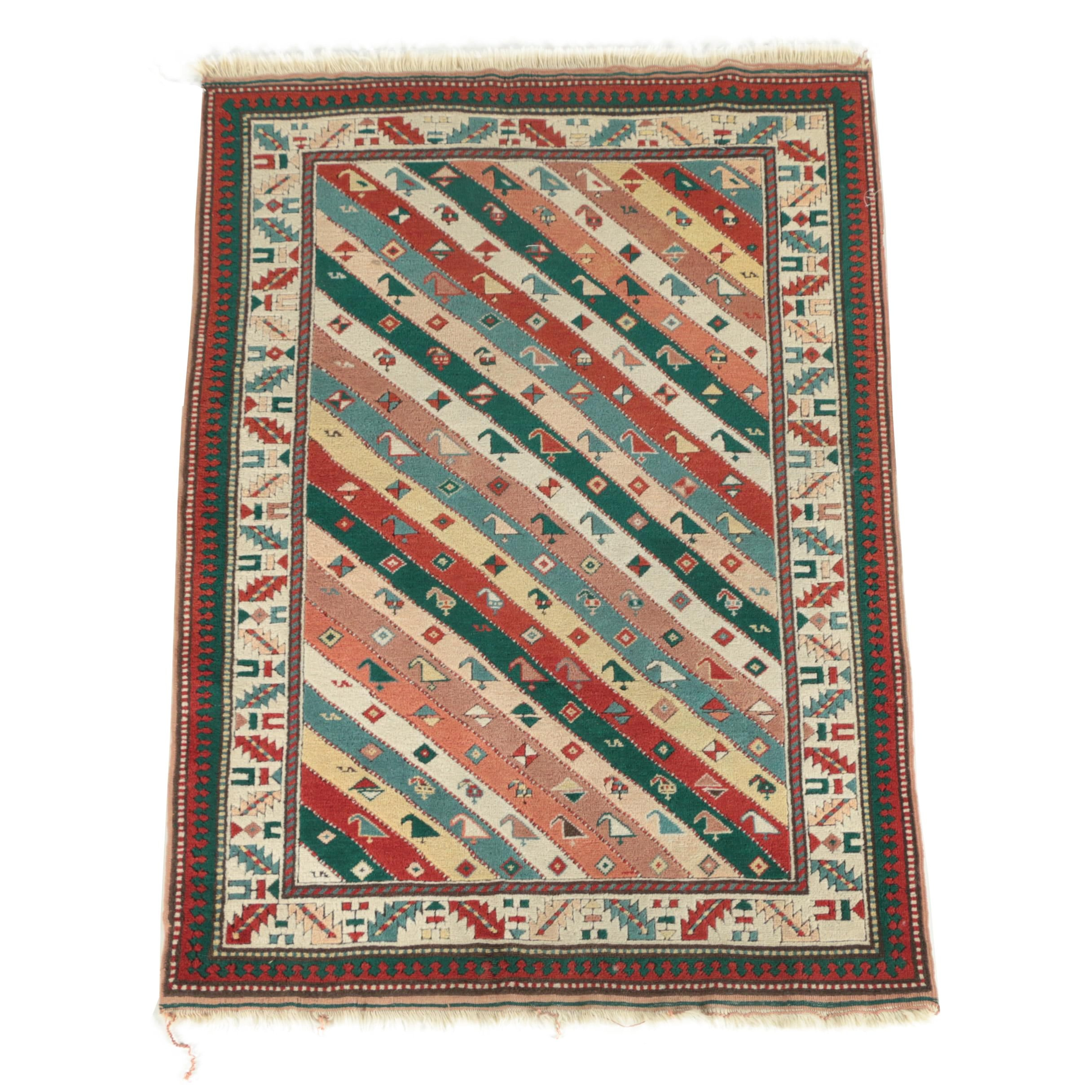 Hand-Knotted Caucasian Genji Wool Area Rug