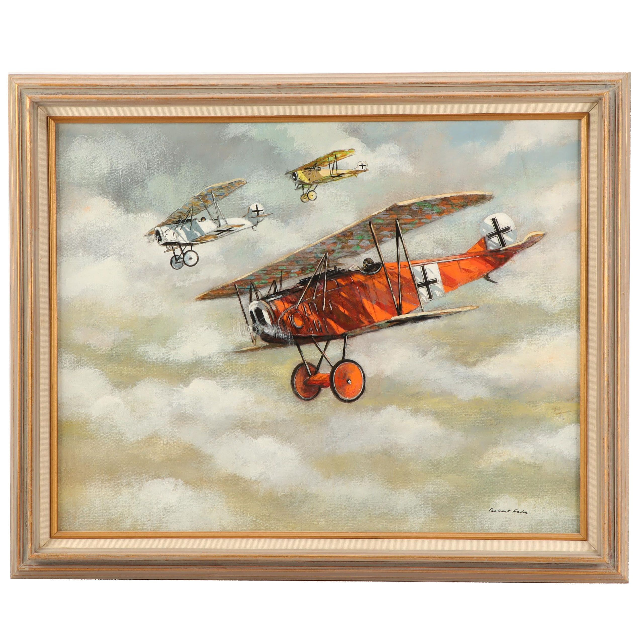 Robert Fabe Oil Painting of Biplanes in Flight