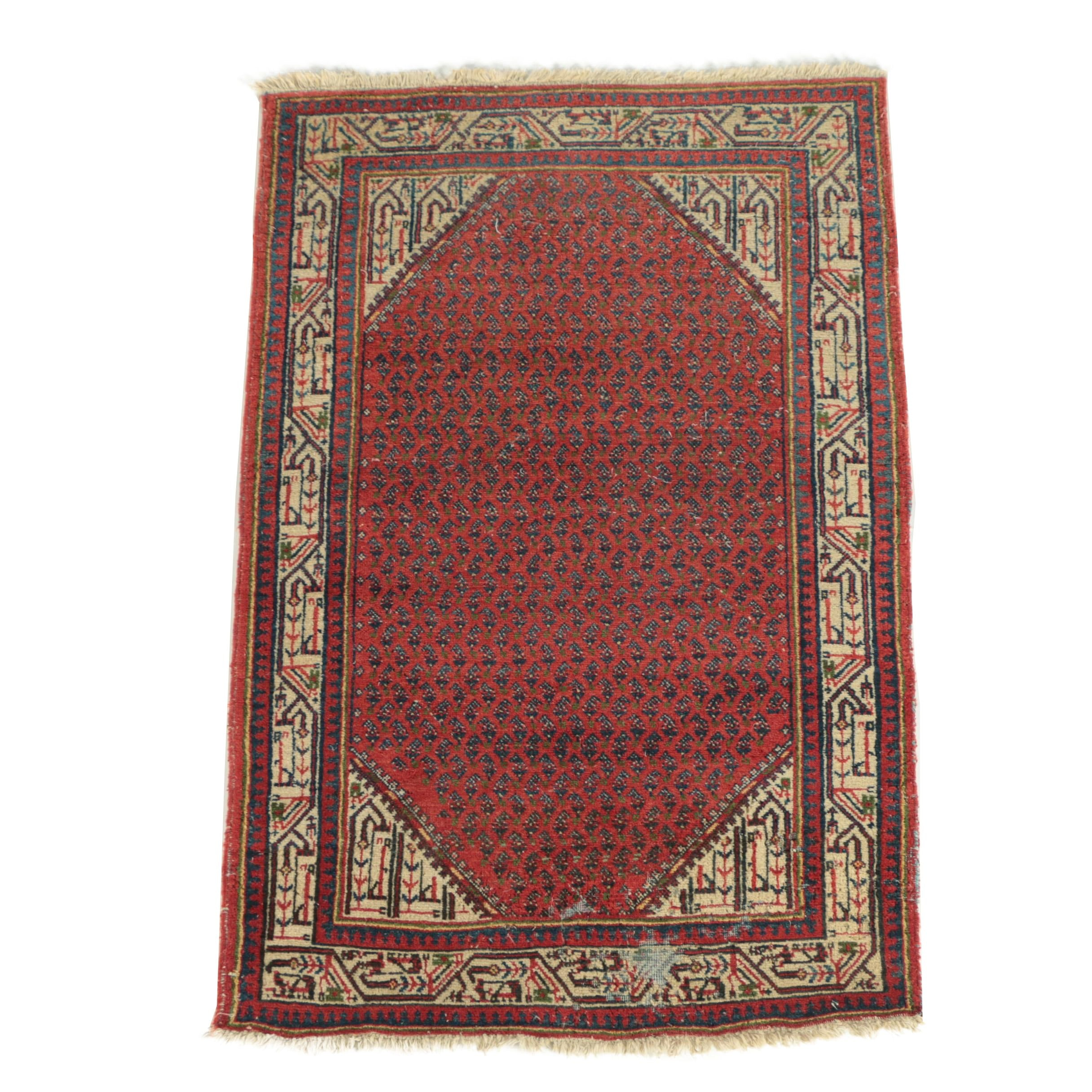 Hand-Knotted Persian Mir-Seraband Wool Area Rug