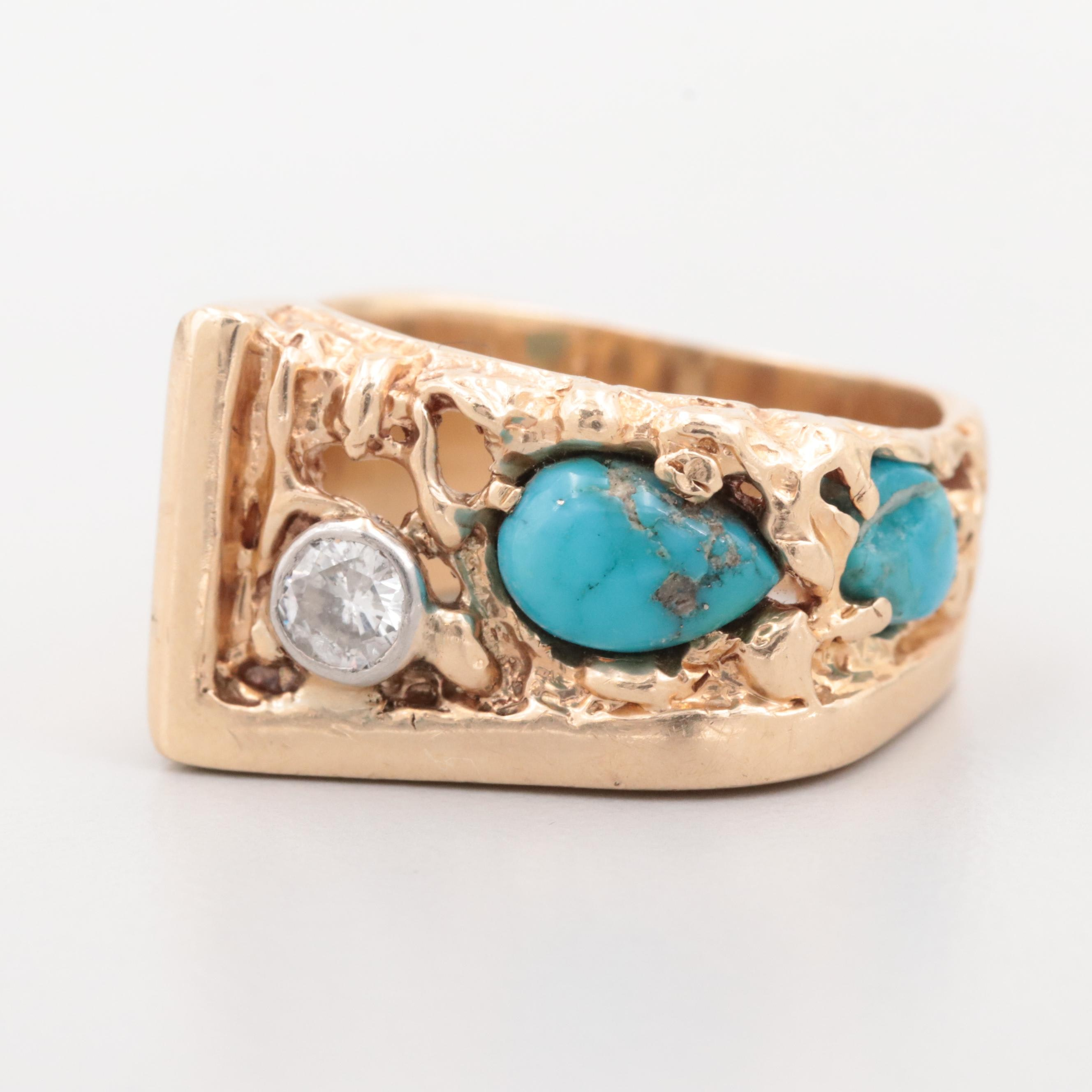 14K Yellow Gold Diamond and Turquoise Ring with Nugget Accents