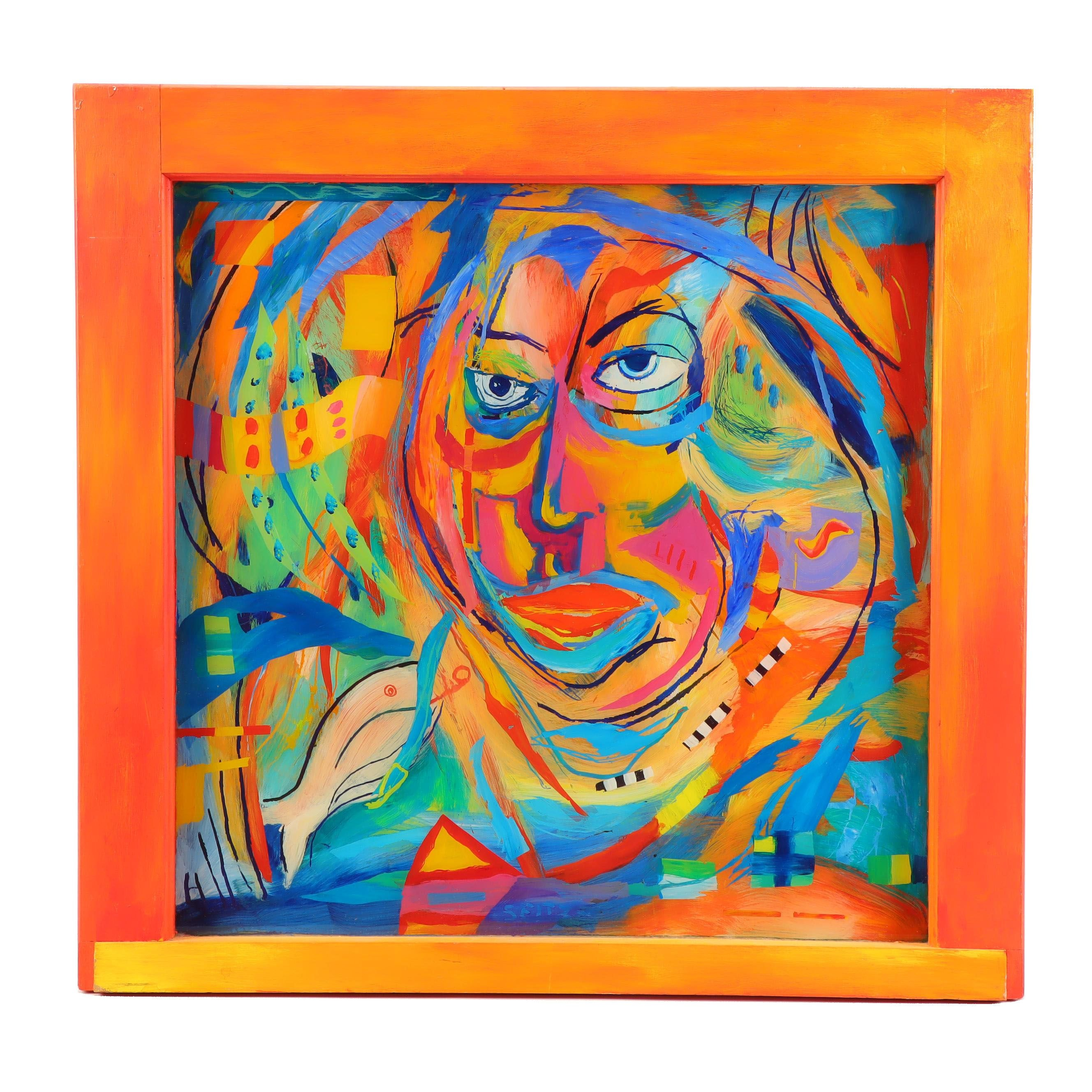 "Bill Seitz Reverse Painting on Glass ""Rare Appearance"""