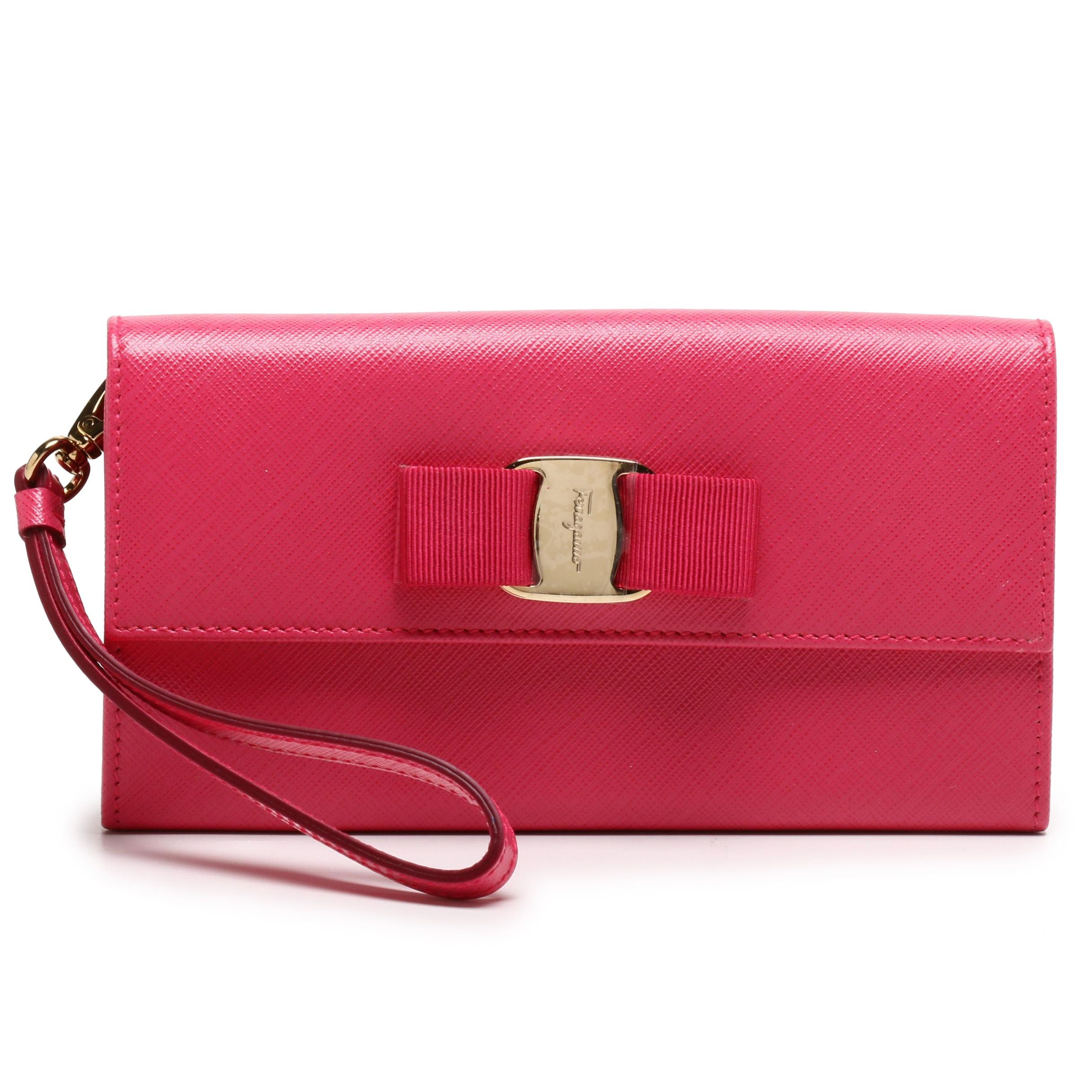 Salvatore Ferragamo Framboise Pink Crosshatch Leather Bow Accented Wristlet