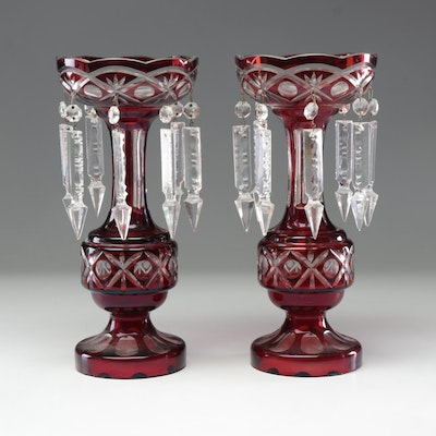 Ruby Crystal Cut to Clear Mantel Lustres with Glass Spear Prisms, Early 20th C