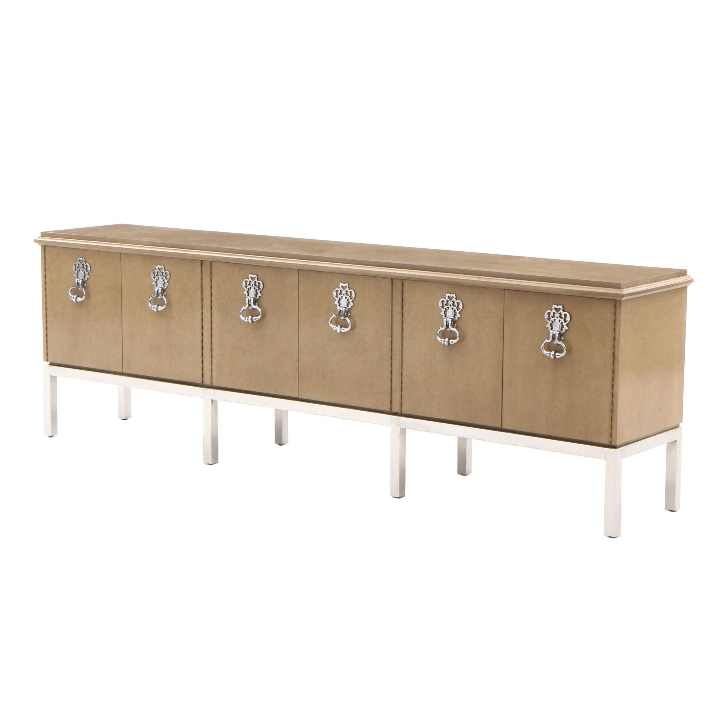 Contemporary Maple Credenza with Faux Burl Finish