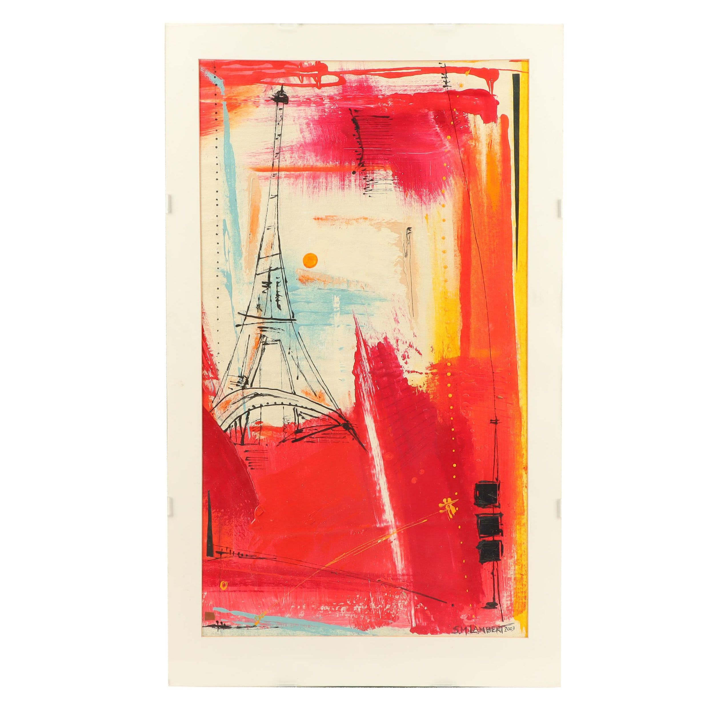 Suanne Marie Lambert Abstract Acrylic Painting with Eiffel Tower
