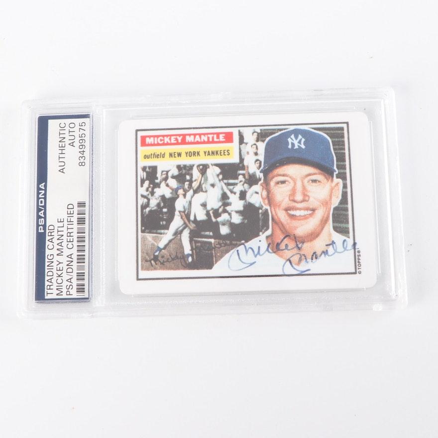 Mickey Mantle Autographed Topps Baseball Card Psa Coa