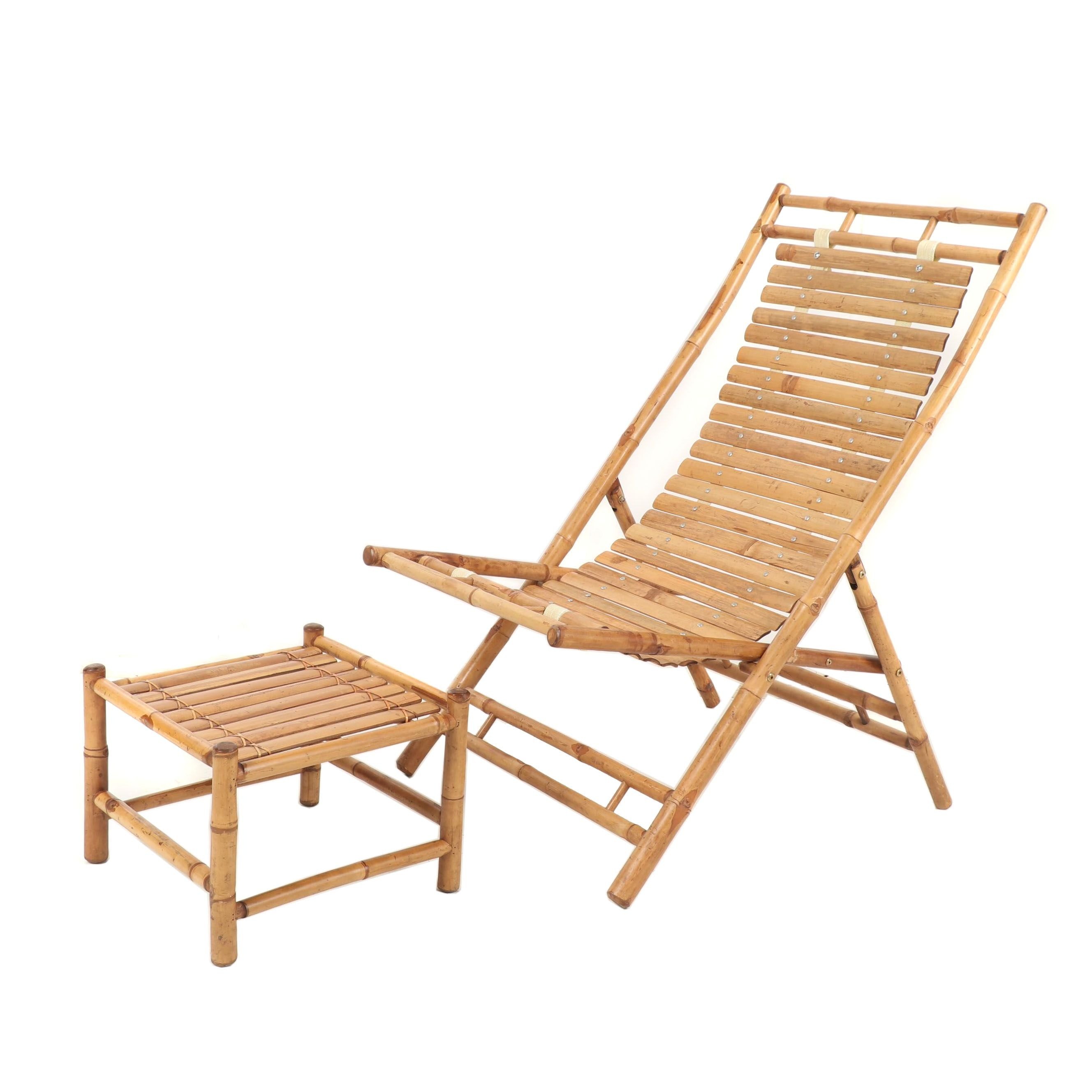 Bamboo Chair and Ottoman