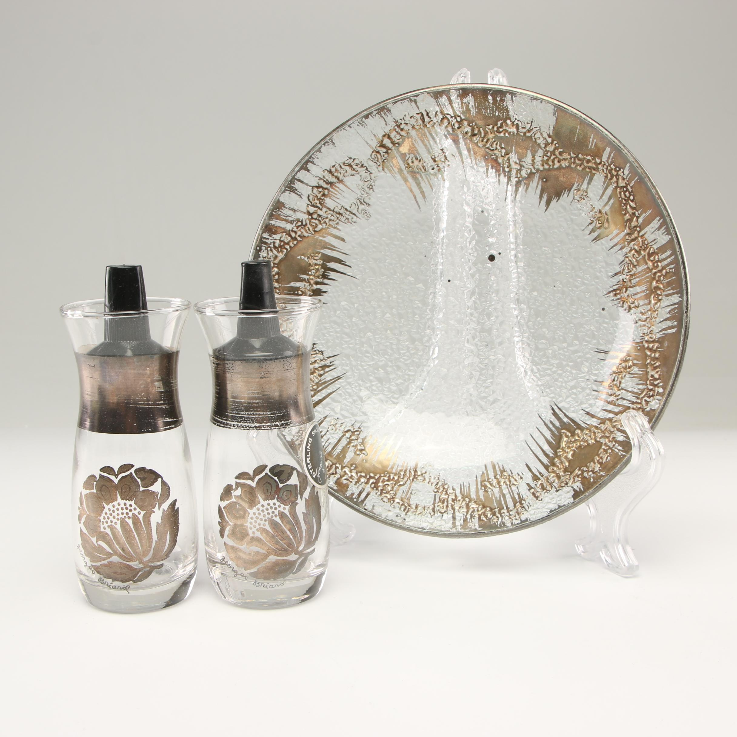 Georges Briard Salt and Pepper Shakers with Glass Bowl, Mid Century