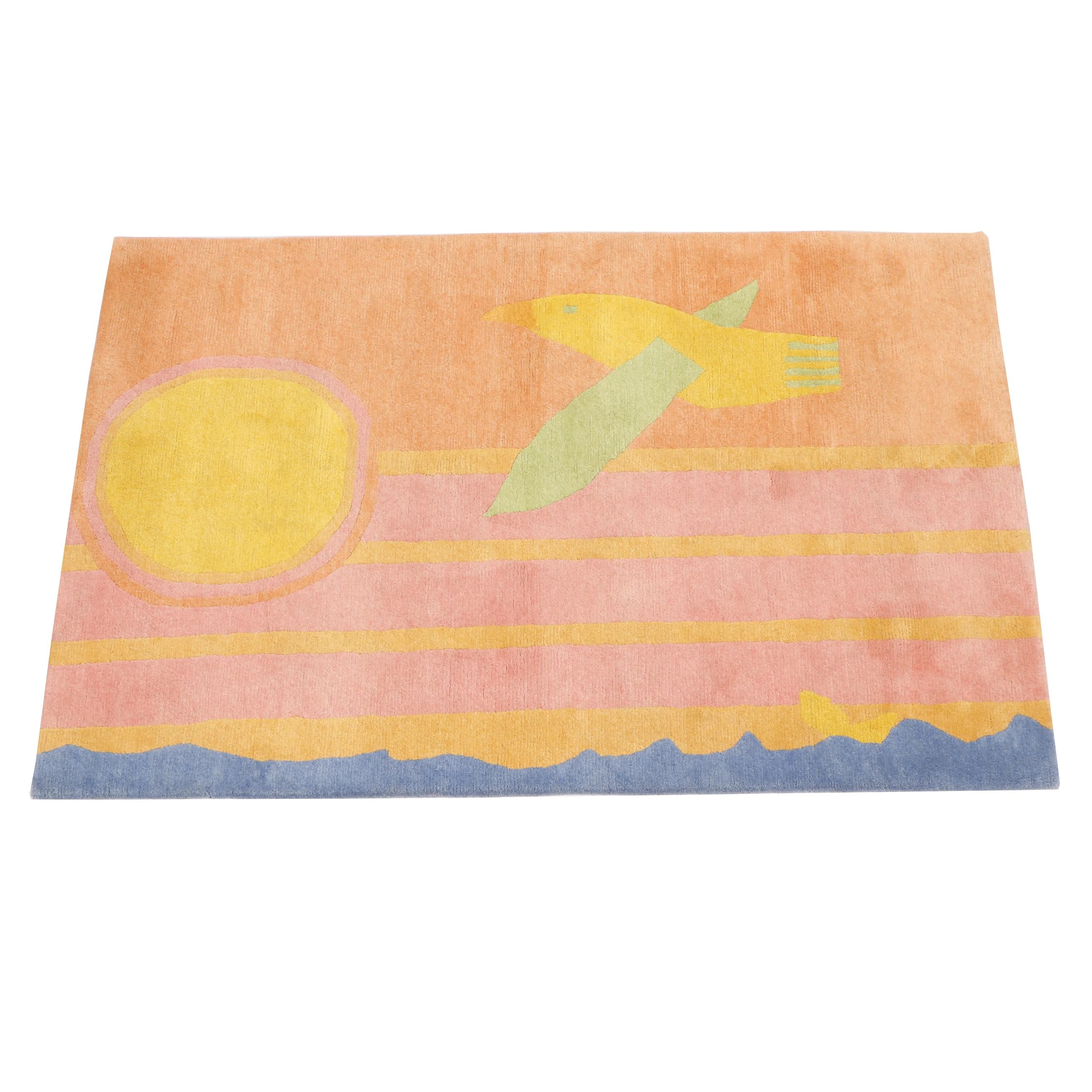 Hand-Knotted Nepalese Pictorial Wool Rug from Oscar Isberian
